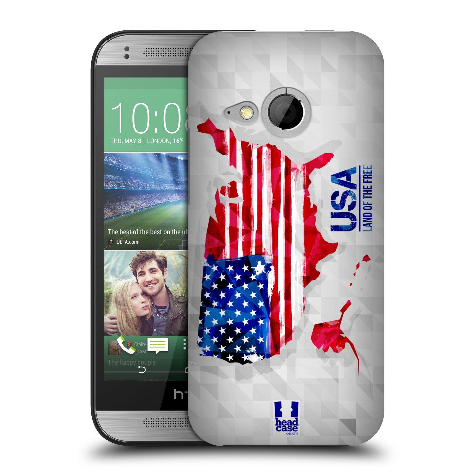 Plastové pouzdro na mobil HTC ONE Mini 2 HEAD CASE GEOMAPA USA (Kryt či obal na mobilní telefon HTC ONE Mini 2)