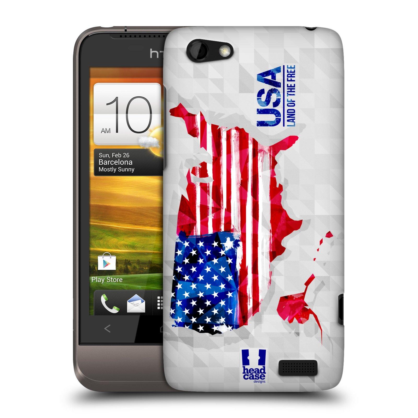 Plastové pouzdro na mobil HTC ONE V HEAD CASE GEOMAPA USA (Kryt či obal na mobilní telefon HTC ONE V)