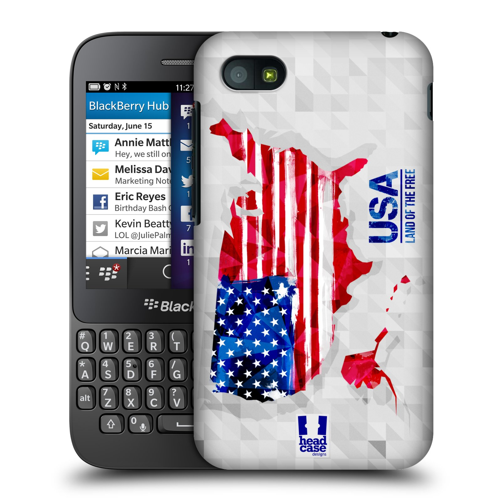 Plastové pouzdro na mobil Blackberry Q5 HEAD CASE GEOMAPA USA (Kryt či obal na mobilní telefon Blackberry Q5)