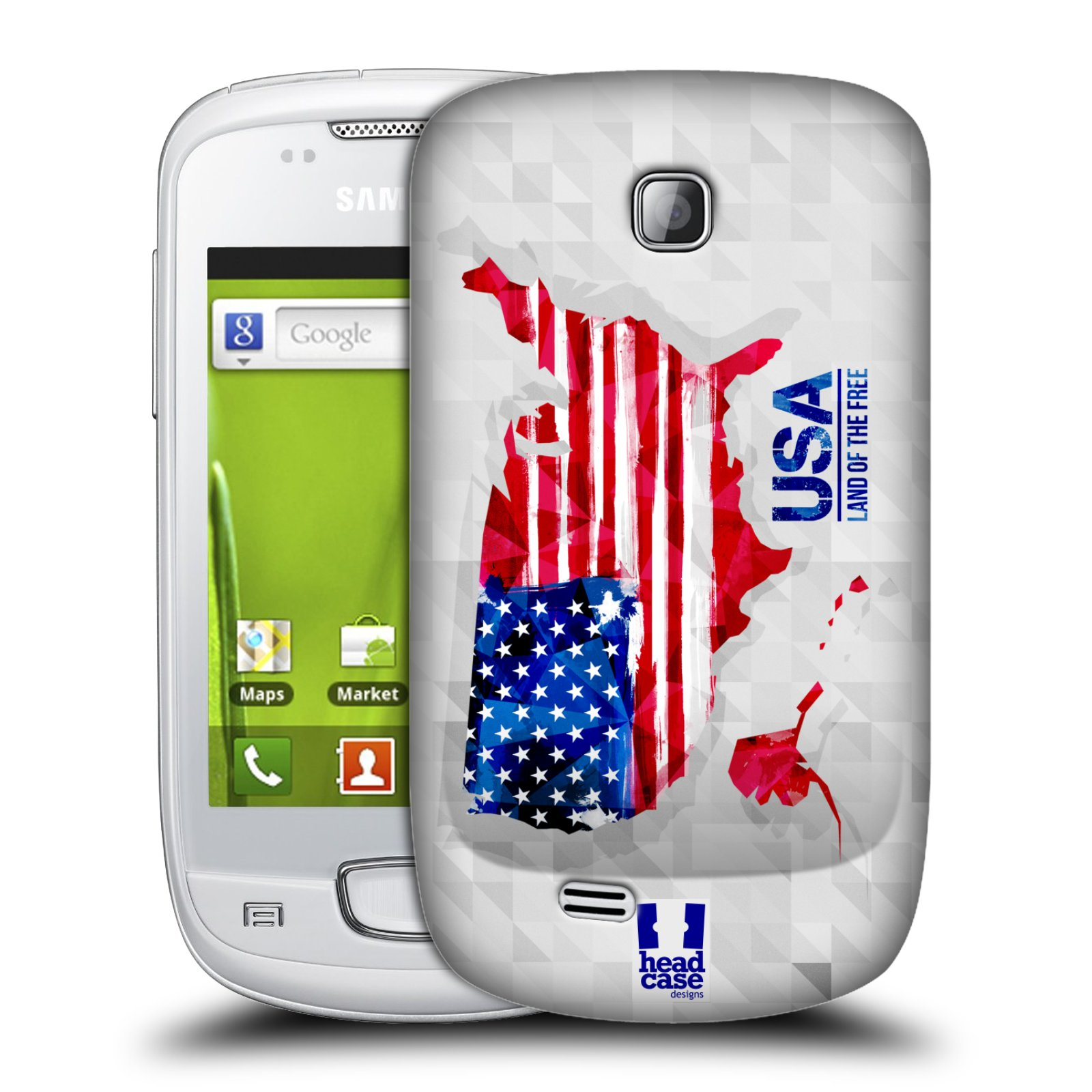 Plastové pouzdro na mobil Samsung Galaxy Mini HEAD CASE GEOMAPA USA (Kryt či obal na mobilní telefon Samsung Galaxy Mini GT-S5570 / GT-S5570i)