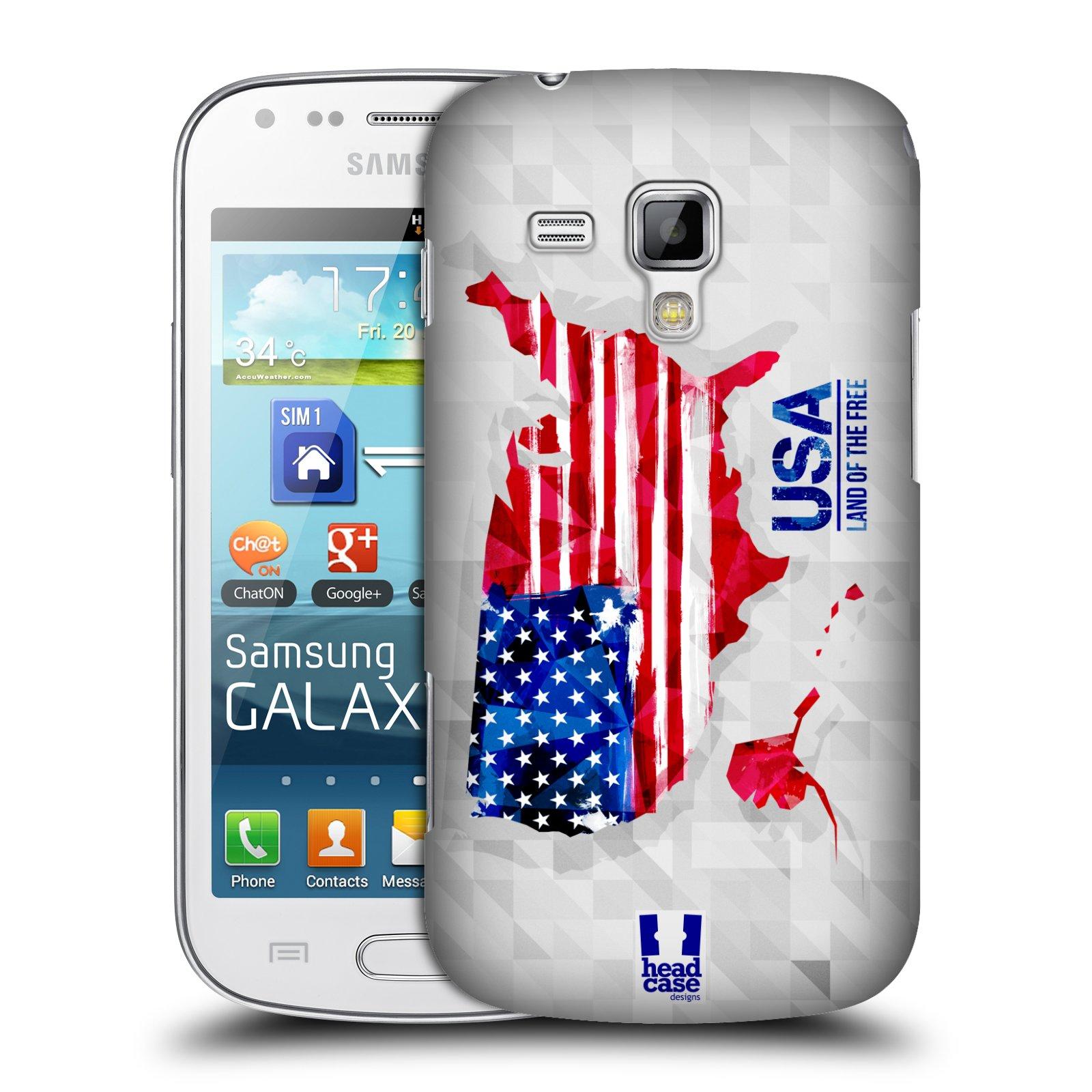 Plastové pouzdro na mobil Samsung Galaxy Trend Plus HEAD CASE GEOMAPA USA (Kryt či obal na mobilní telefon Samsung Galaxy Trend Plus GT-S7580)