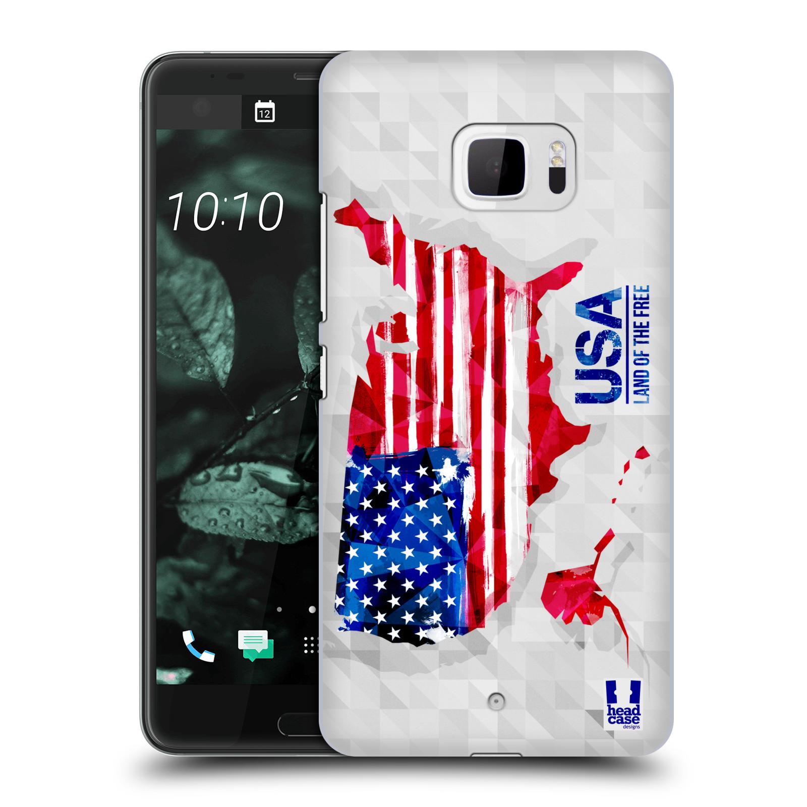 Plastové pouzdro na mobil HTC U Ultra Head Case - GEOMAPA USA (Plastový kryt či obal na mobilní telefon HTC U Ultra (99HALT015-00))