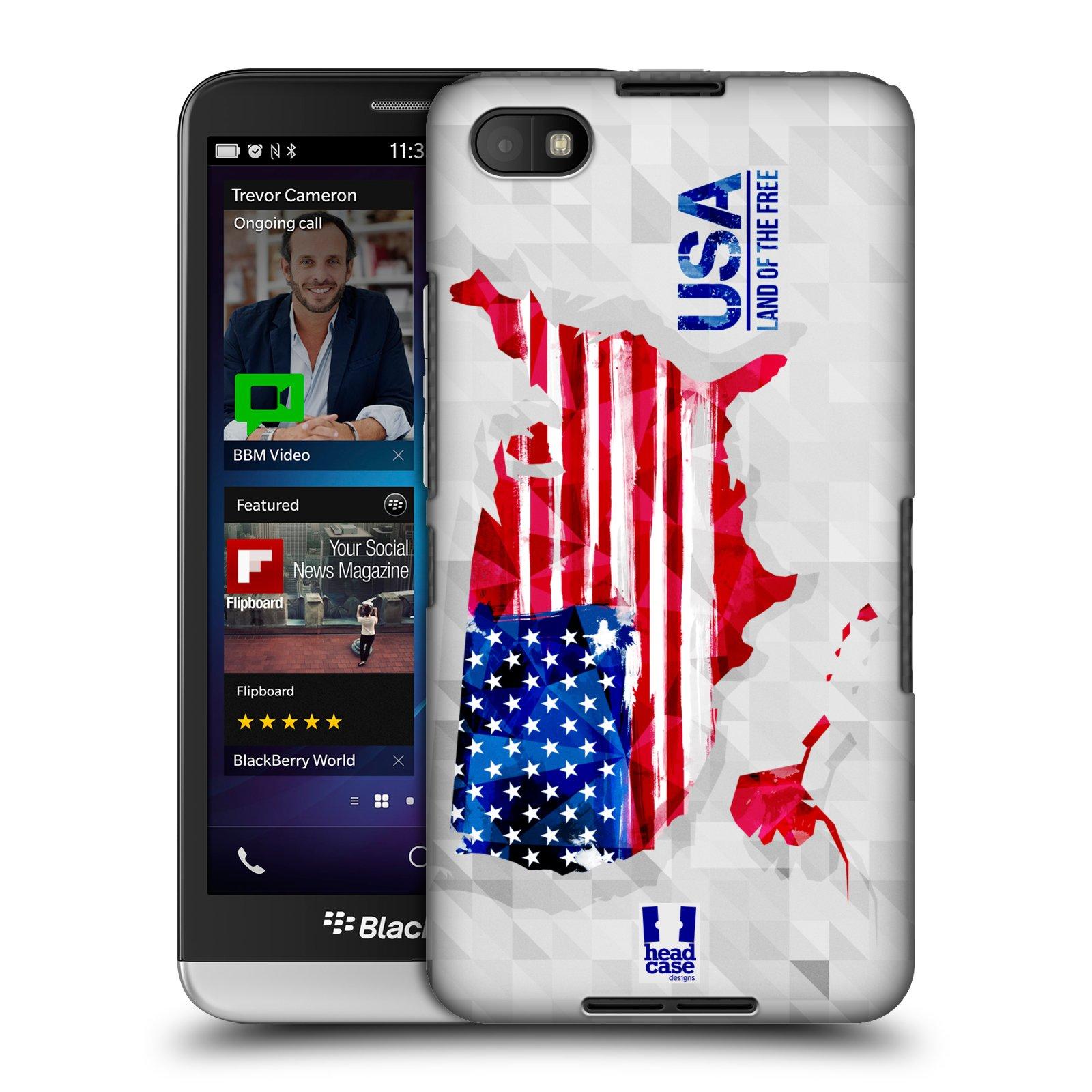 Plastové pouzdro na mobil Blackberry Z30 HEAD CASE GEOMAPA USA (Kryt či obal na mobilní telefon Blackberry Z30)