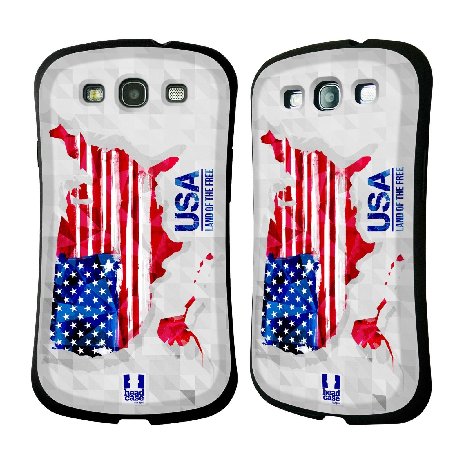 Nárazuvzdorné pouzdro na mobil Samsung Galaxy S III HEAD CASE GEOMAPA USA (Odolný nárazuvzdorný silikonový kryt či obal na mobilní telefon Samsung Galaxy S III GT-i9300)