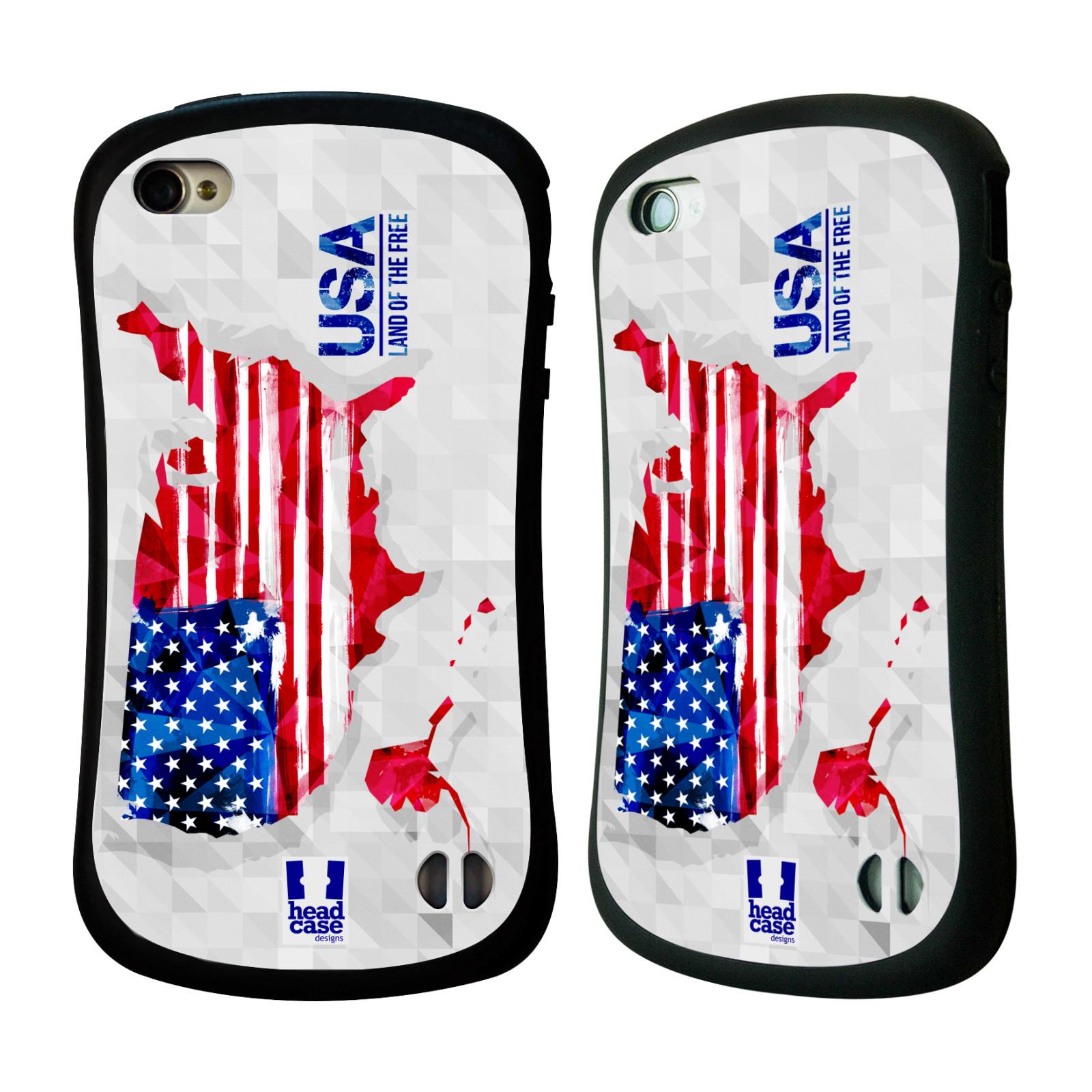 Nárazuvzdorné pouzdro na mobil Apple iPhone 4 a 4S HEAD CASE GEOMAPA USA (Odolný nárazuvzdorný silikonový kryt či obal na mobilní telefon Apple iPhone 4 a 4S)