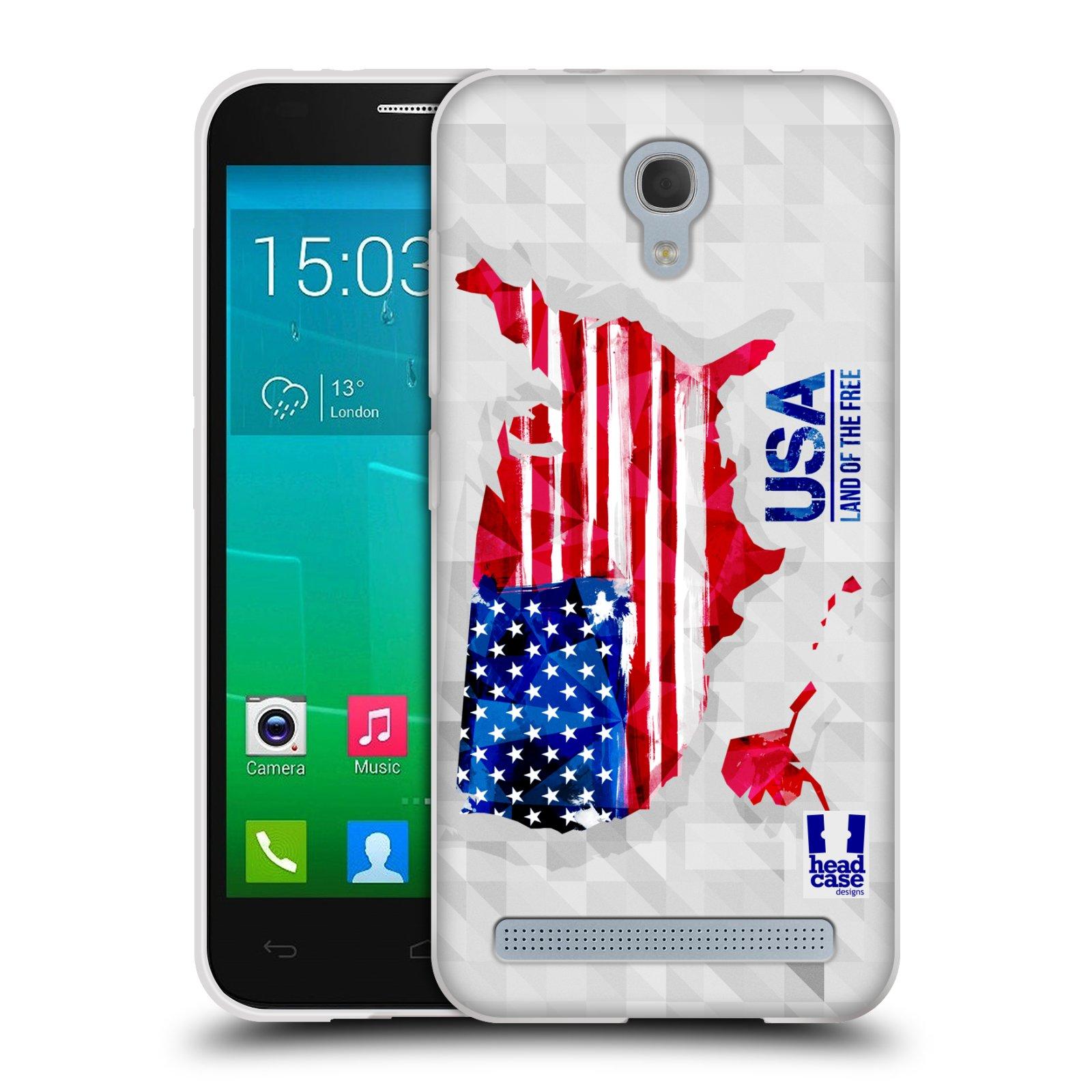 Silikonové pouzdro na mobil Alcatel One Touch Idol 2 Mini S 6036Y HEAD CASE GEOMAPA USA (Silikonový kryt či obal na mobilní telefon Alcatel Idol 2 Mini S OT-6036Y)