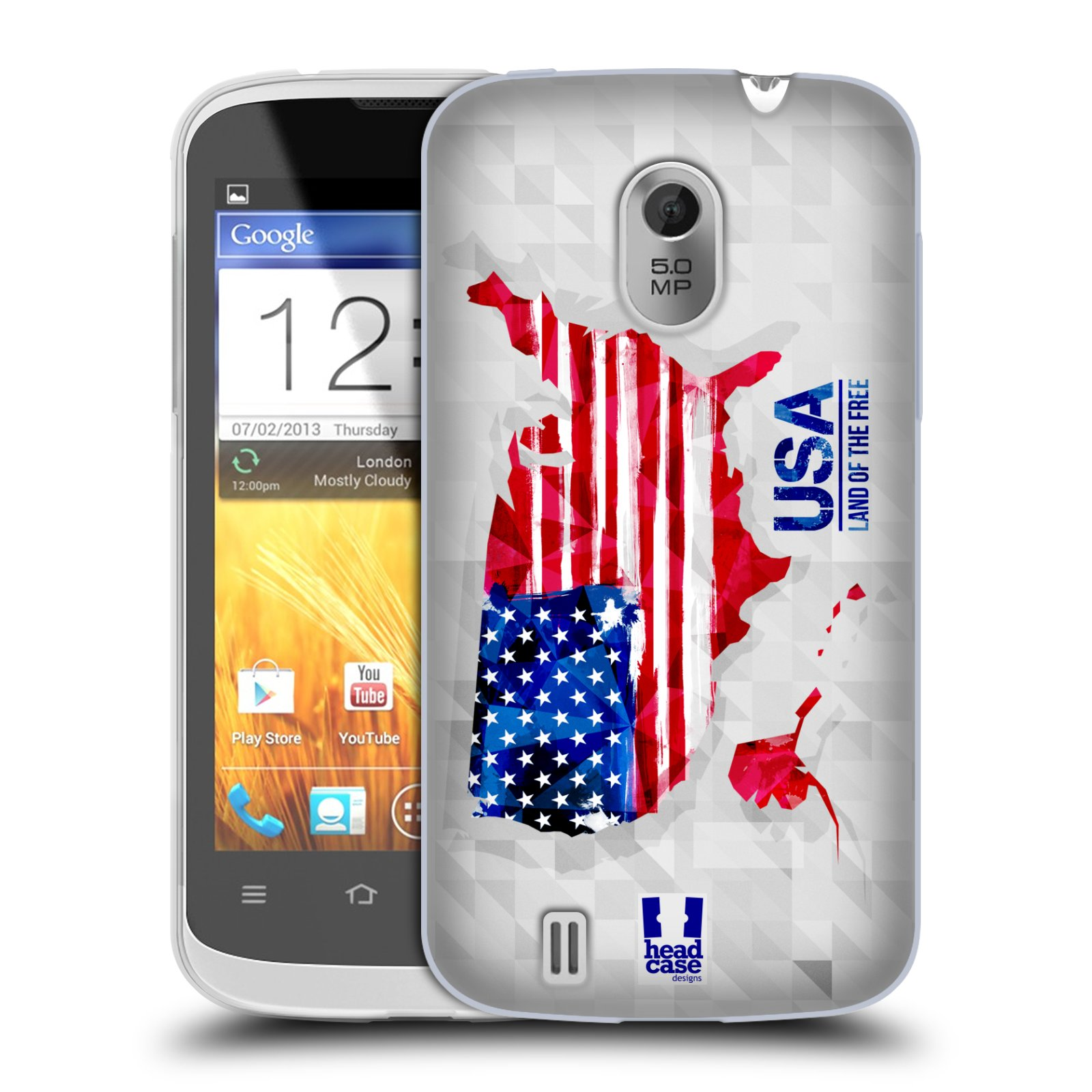 Silikonové pouzdro na mobil ZTE Blade III HEAD CASE GEOMAPA USA (Silikonový kryt či obal na mobilní telefon ZTE Blade 3)