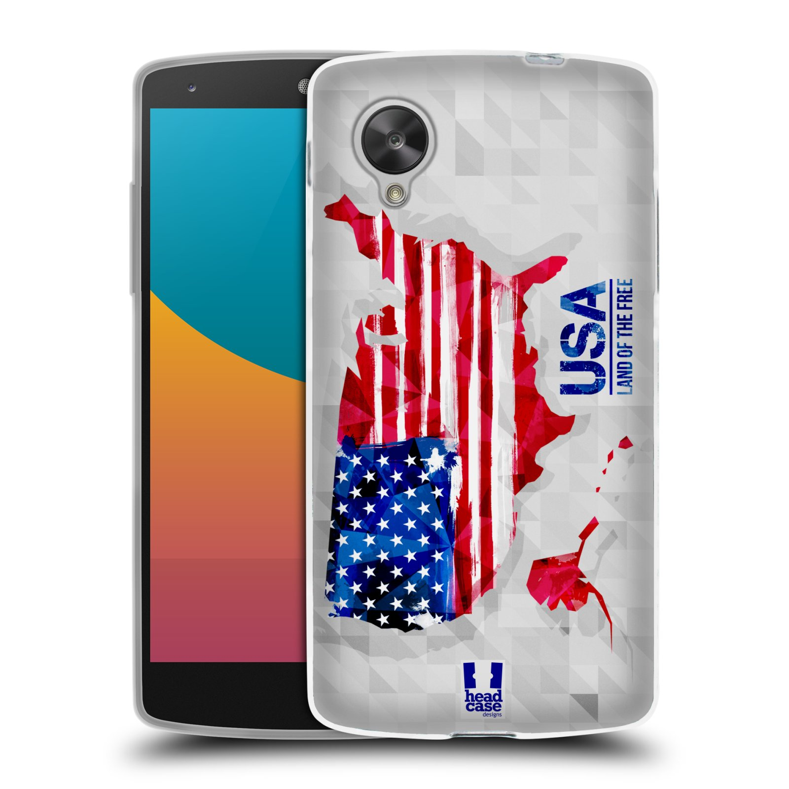 Silikonové pouzdro na mobil LG Nexus 5 HEAD CASE GEOMAPA USA (Silikonový kryt či obal na mobilní telefon LG Google Nexus 5 D821)