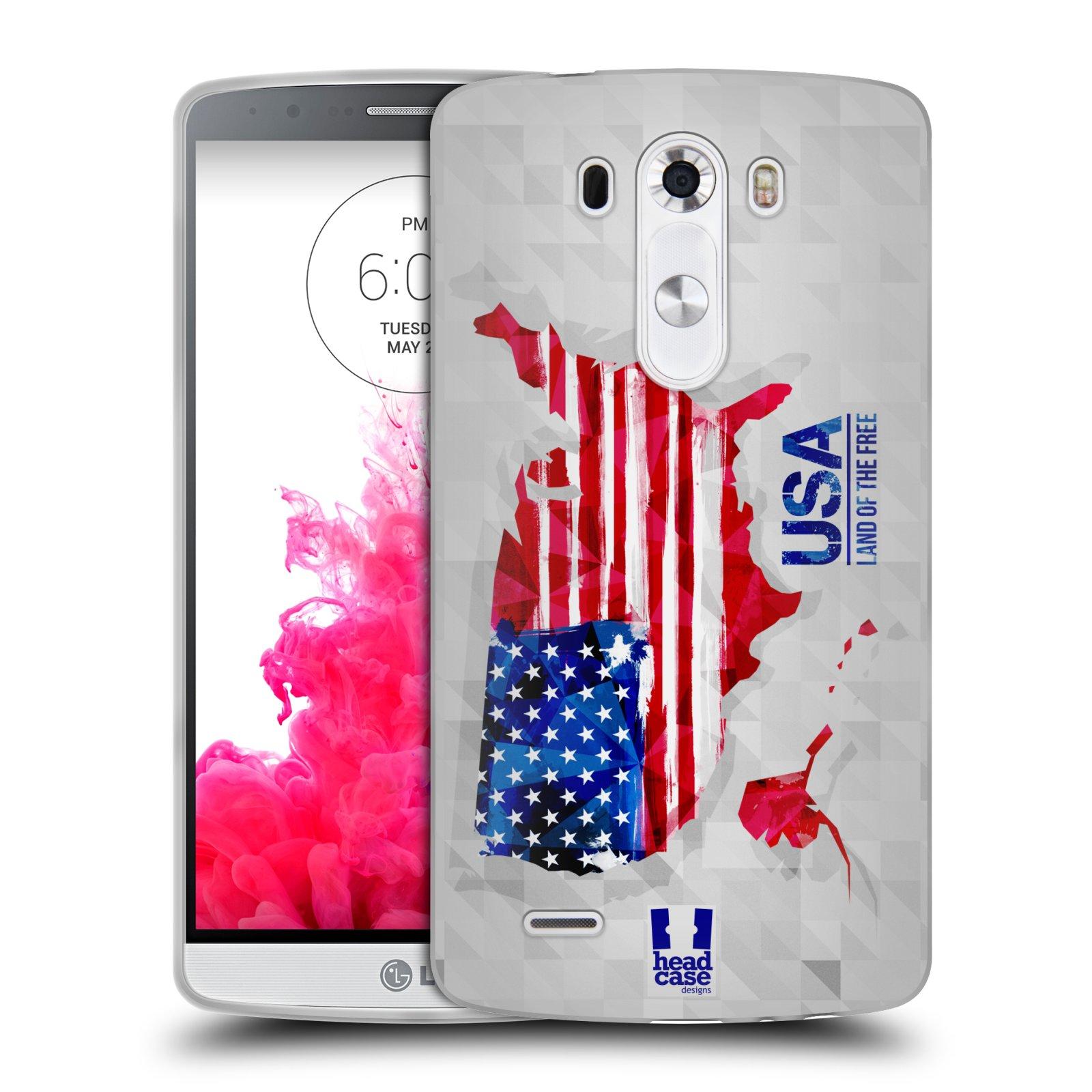 Silikonové pouzdro na mobil LG G3 HEAD CASE GEOMAPA USA (Silikonový kryt či obal na mobilní telefon LG G3 D855)
