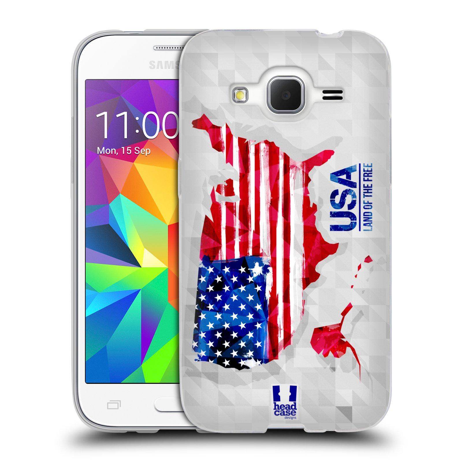 Silikonové pouzdro na mobil Samsung Galaxy Core Prime LTE HEAD CASE GEOMAPA USA (Silikonový kryt či obal na mobilní telefon Samsung Galaxy Core Prime LTE SM-G360)