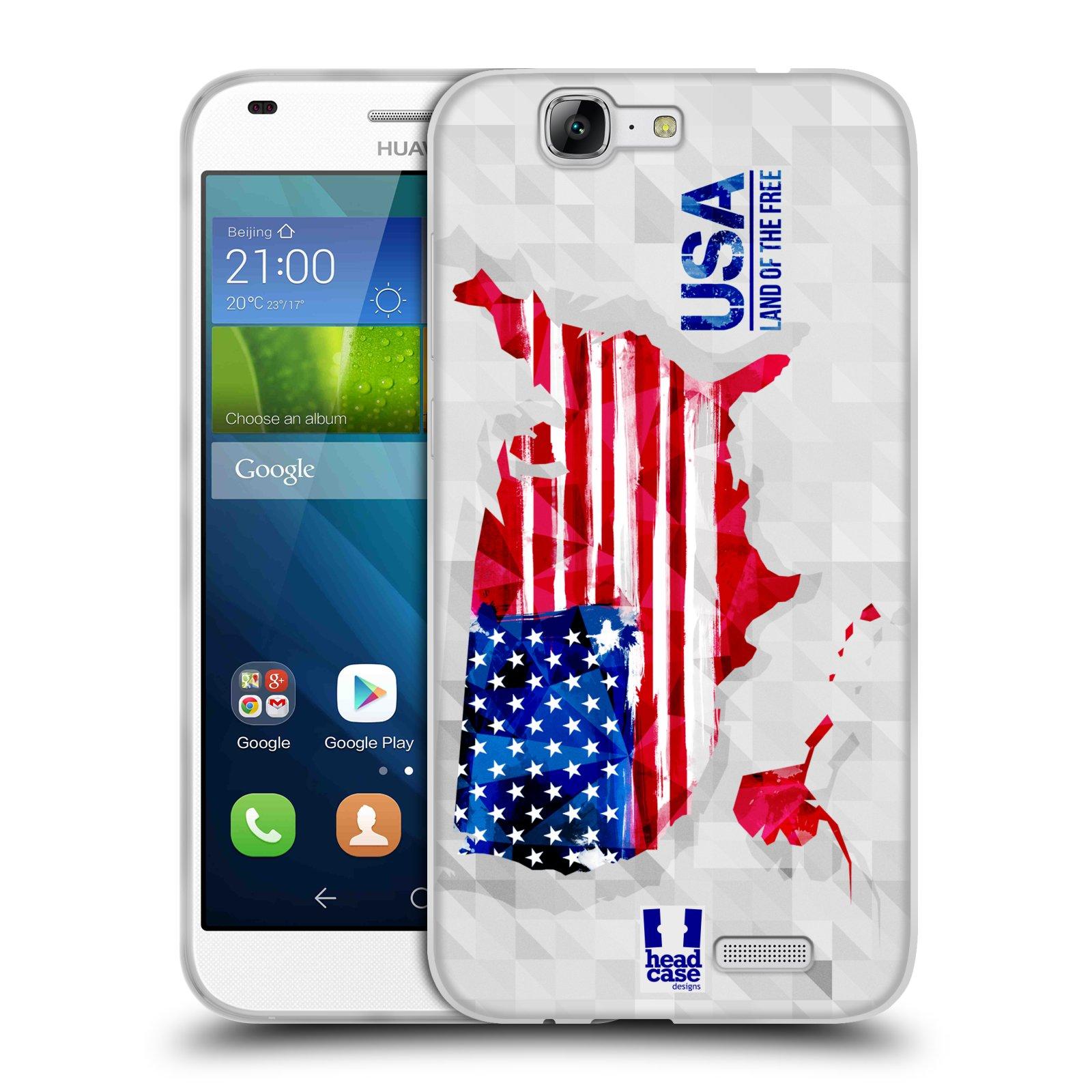 Silikonové pouzdro na mobil Huawei Ascend G7 HEAD CASE GEOMAPA USA (Silikonový kryt či obal na mobilní telefon Huawei Ascend G7)