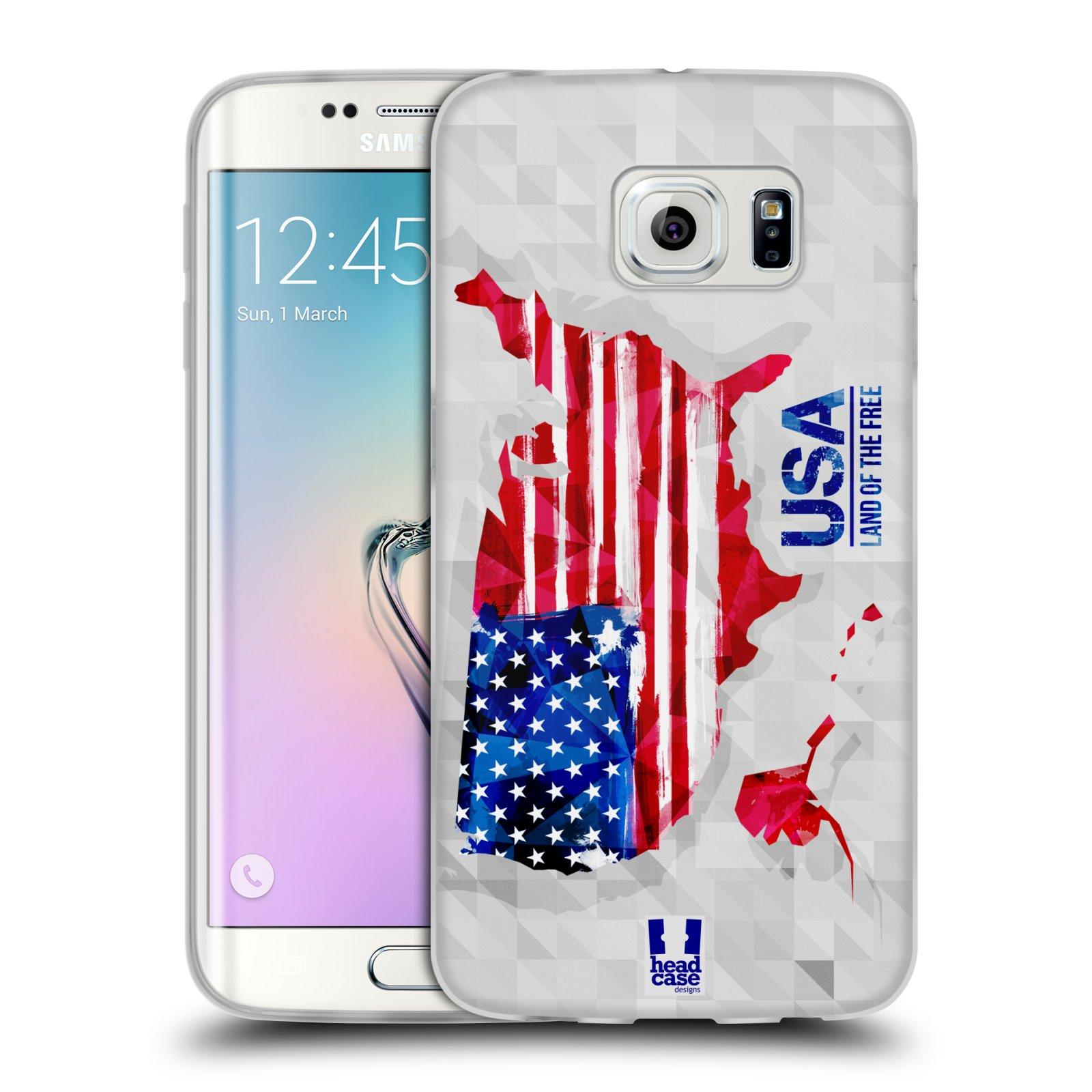 Silikonové pouzdro na mobil Samsung Galaxy S6 Edge HEAD CASE GEOMAPA USA (Silikonový kryt či obal na mobilní telefon Samsung Galaxy S6 Edge SM-G925F)