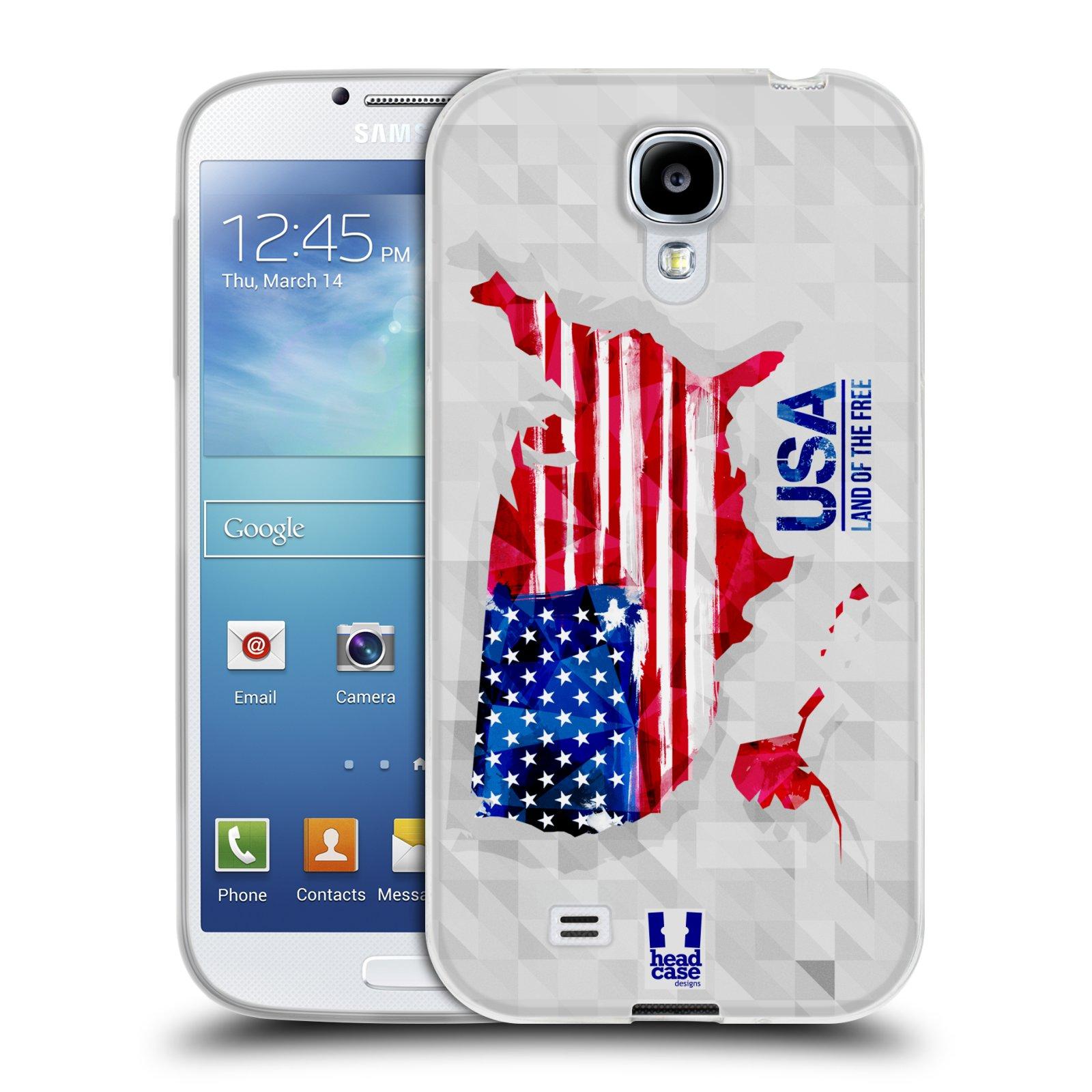 Silikonové pouzdro na mobil Samsung Galaxy S4 HEAD CASE GEOMAPA USA (Silikonový kryt či obal na mobilní telefon Samsung Galaxy S4 GT-i9505 / i9500)