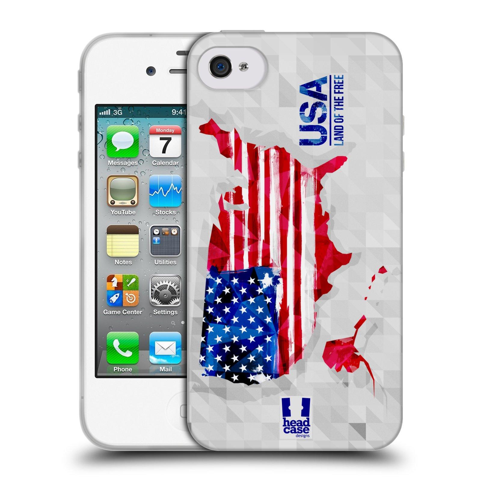 Silikonové pouzdro na mobil Apple iPhone 4 a 4S HEAD CASE GEOMAPA USA (Silikonový kryt či obal na mobilní telefon Apple iPhone 4 a 4S)