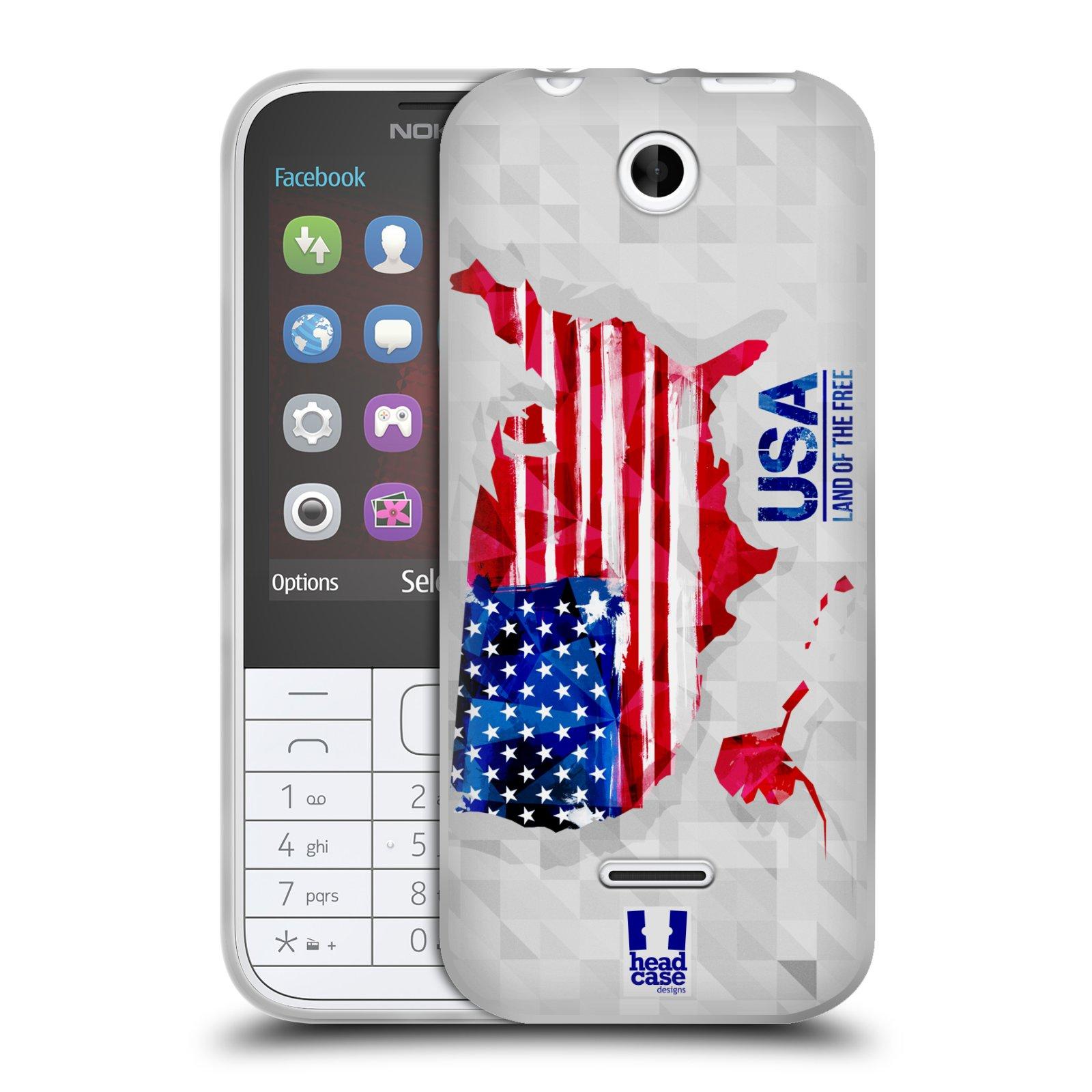 Silikonové pouzdro na mobil Nokia 225 HEAD CASE GEOMAPA USA (Silikonový kryt či obal na mobilní telefon Nokia 225)