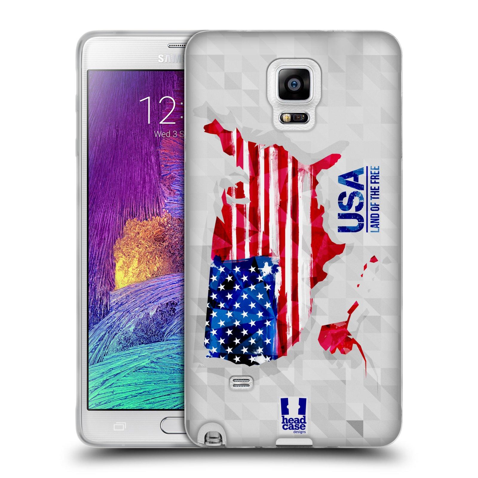 Silikonové pouzdro na mobil Samsung Galaxy Note 4 HEAD CASE GEOMAPA USA (Silikonový kryt či obal na mobilní telefon Samsung Galaxy Note 4 SM-N910F)