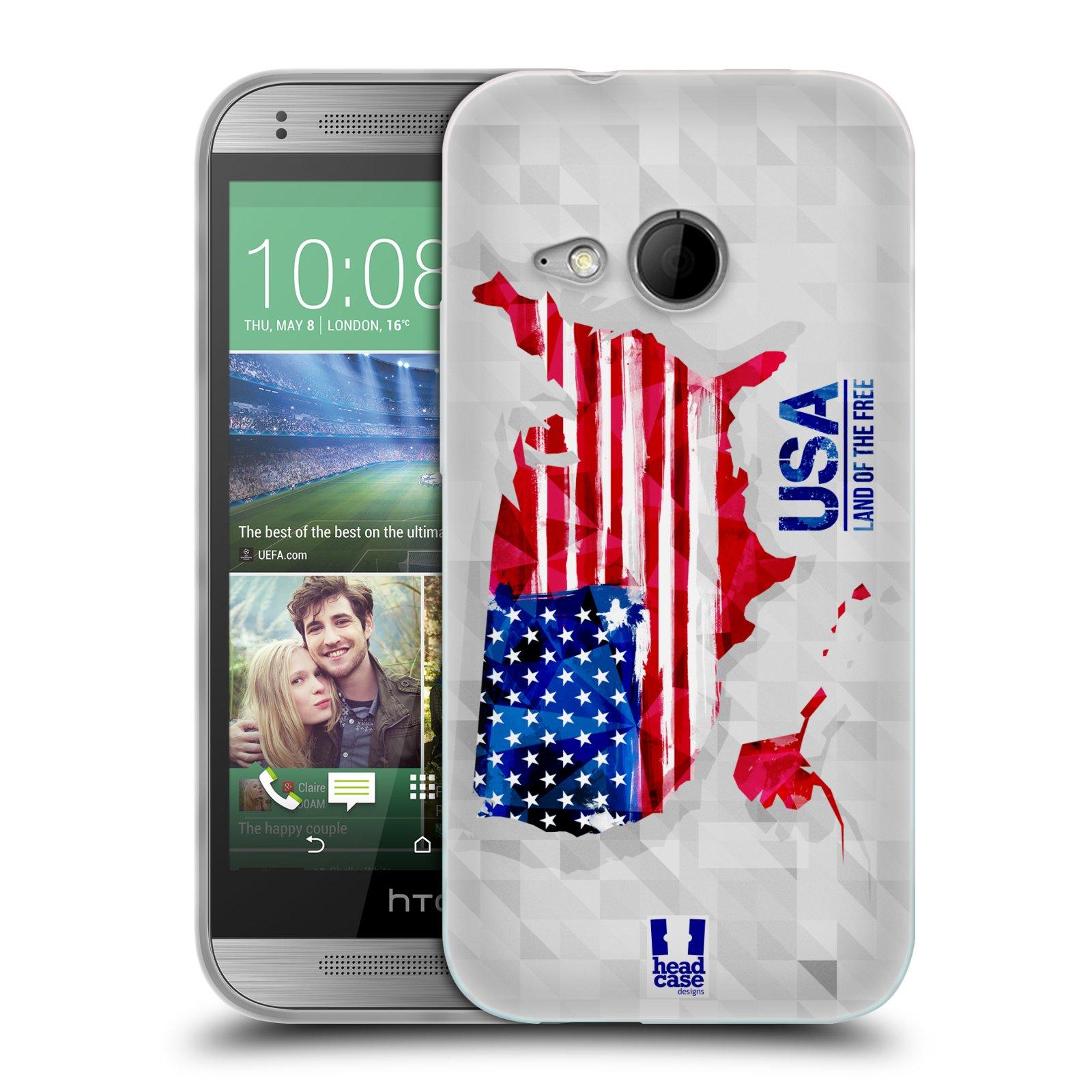 Silikonové pouzdro na mobil HTC ONE Mini 2 HEAD CASE GEOMAPA USA (Silikonový kryt či obal na mobilní telefon HTC ONE Mini 2)