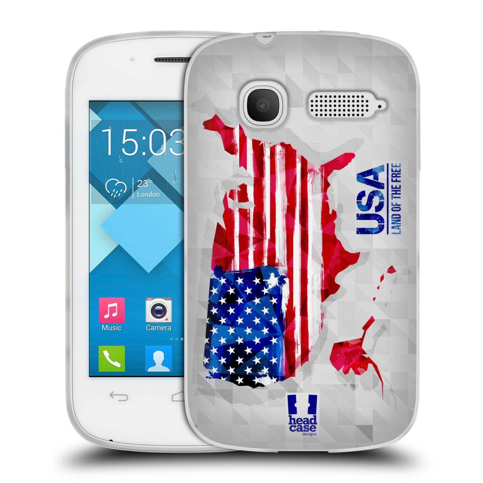 Silikonové pouzdro na mobil Alcatel One Touch Pop C1 HEAD CASE GEOMAPA USA (Silikonový kryt či obal na mobilní telefon Alcatel OT-4015D POP C1)