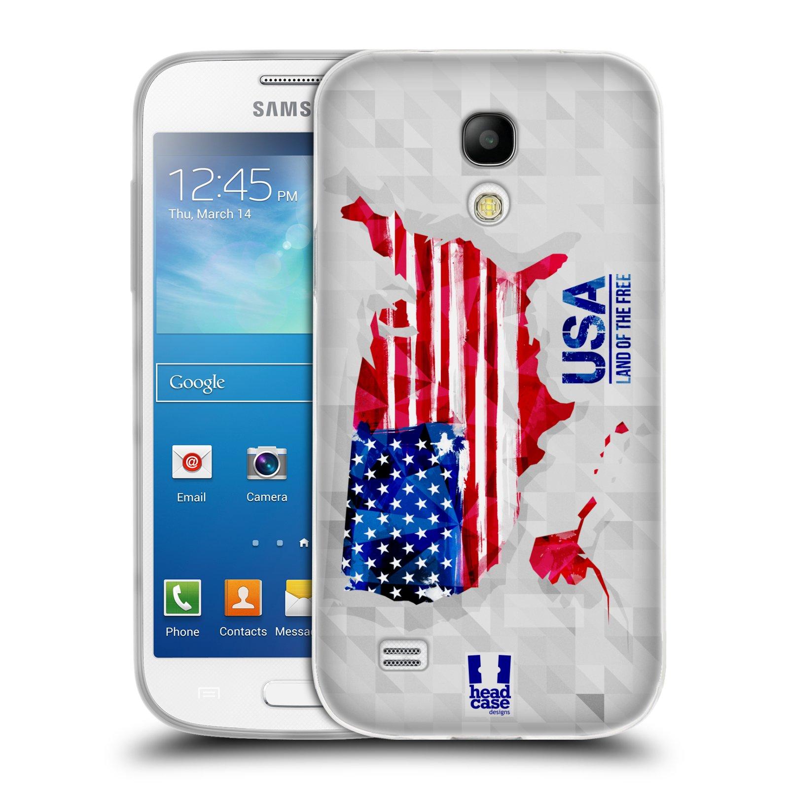 Silikonové pouzdro na mobil Samsung Galaxy S4 Mini HEAD CASE GEOMAPA USA (Silikonový kryt či obal na mobilní telefon Samsung Galaxy S4 Mini GT-i9195 / i9190 (nepasuje na verzi Black Edition))