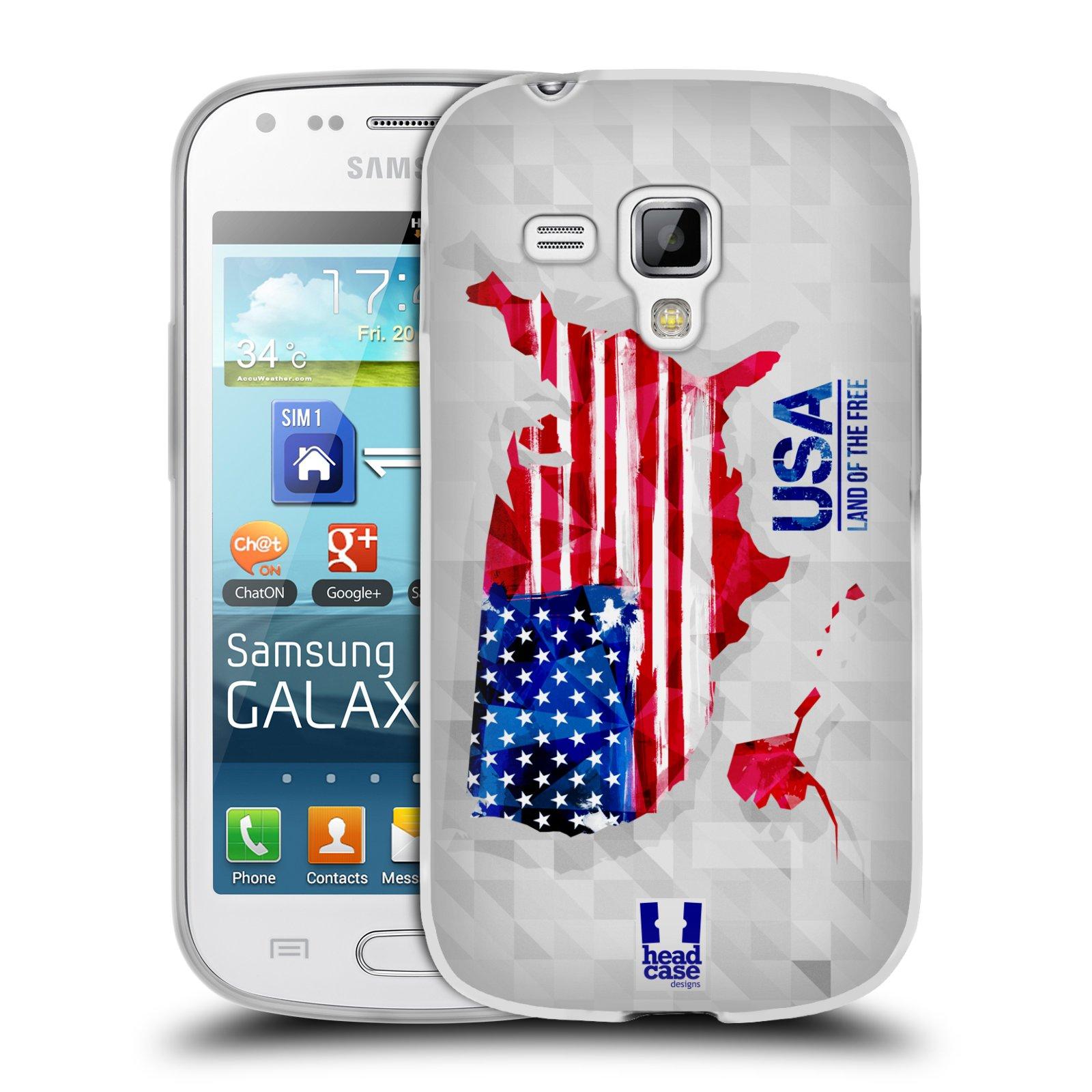 Silikonové pouzdro na mobil Samsung Galaxy Trend Plus HEAD CASE GEOMAPA USA (Silikonový kryt či obal na mobilní telefon Samsung Galaxy Trend Plus GT-S7580)