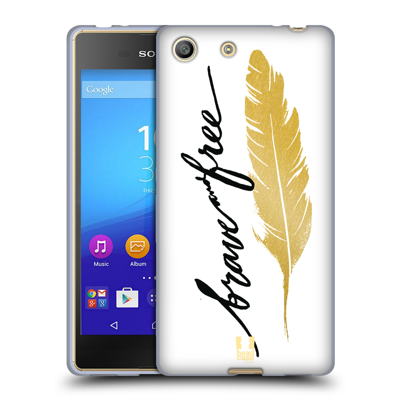 Silikonové pouzdro na mobil Sony Xperia M5 HEAD CASE PÍRKO ZLATÉ FREE (Silikonový kryt či obal na mobilní telefon Sony Xperia M5 Dual SIM / Aqua)