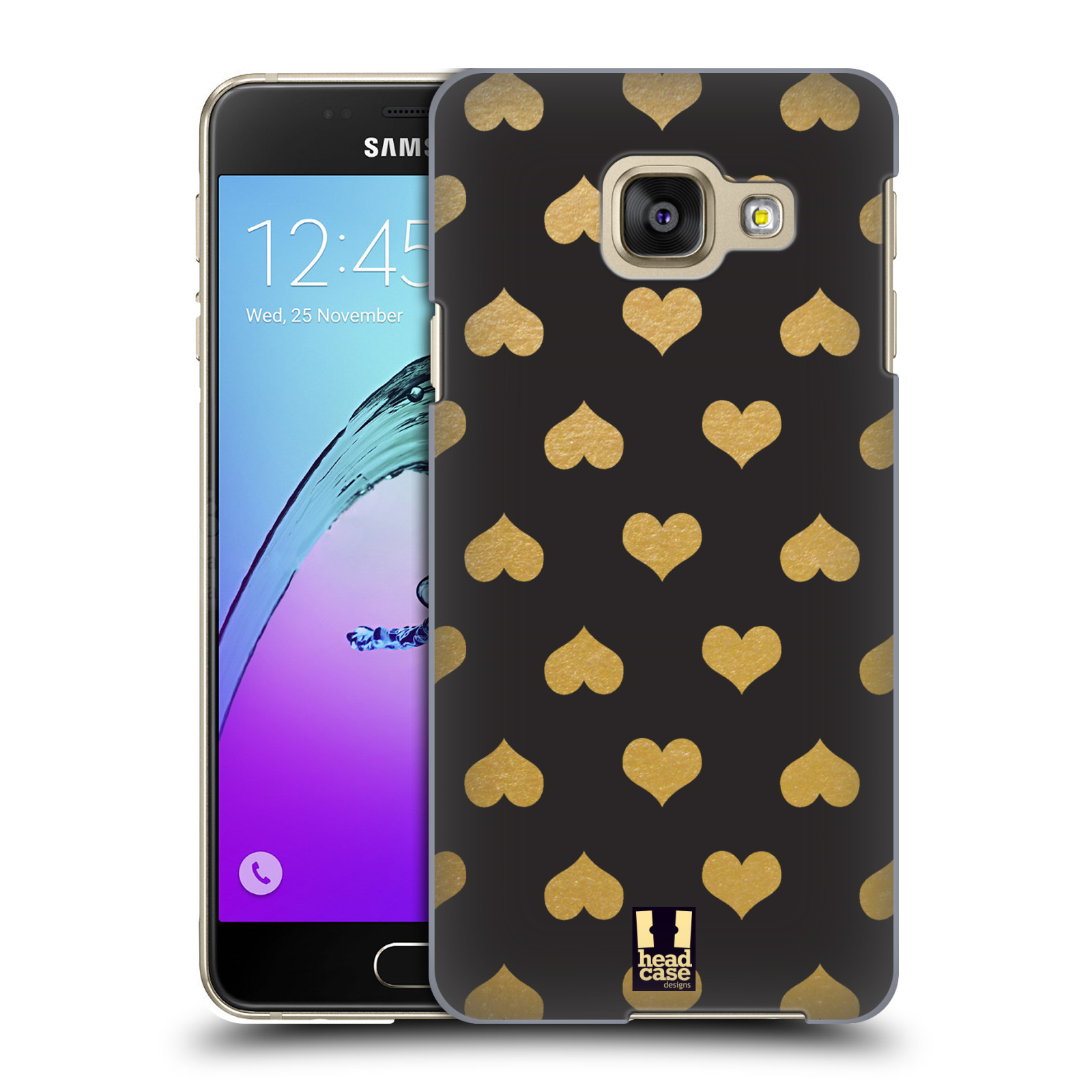Plastové pouzdro na mobil Samsung Galaxy A3 (2016) HEAD CASE ZLATÁ SRDÍČKA