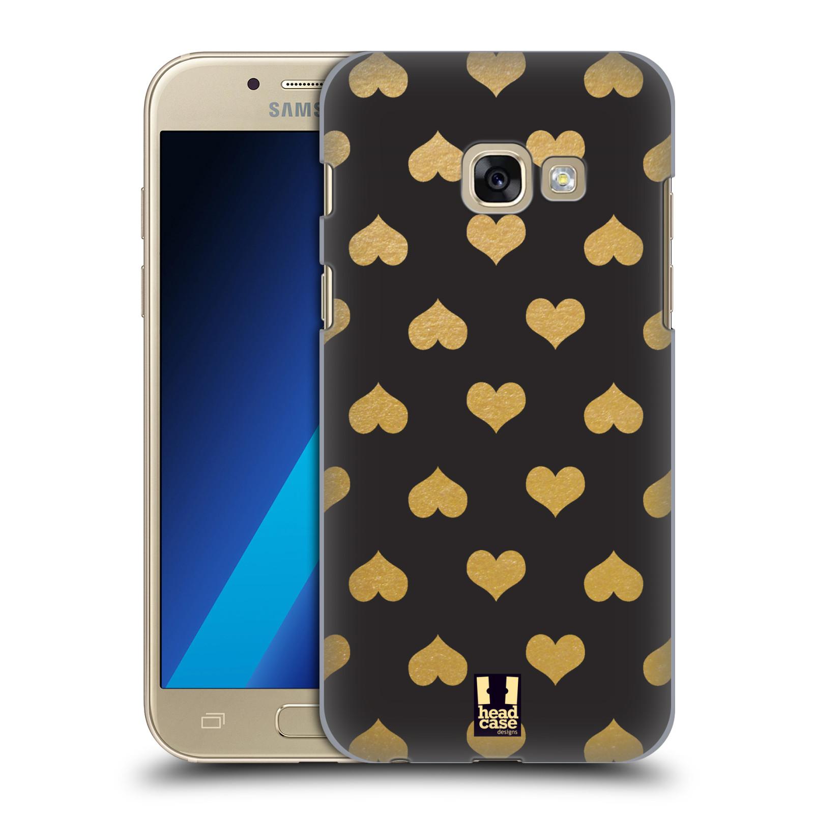 Plastové pouzdro na mobil Samsung Galaxy A3 (2017) HEAD CASE ZLATÁ SRDÍČKA