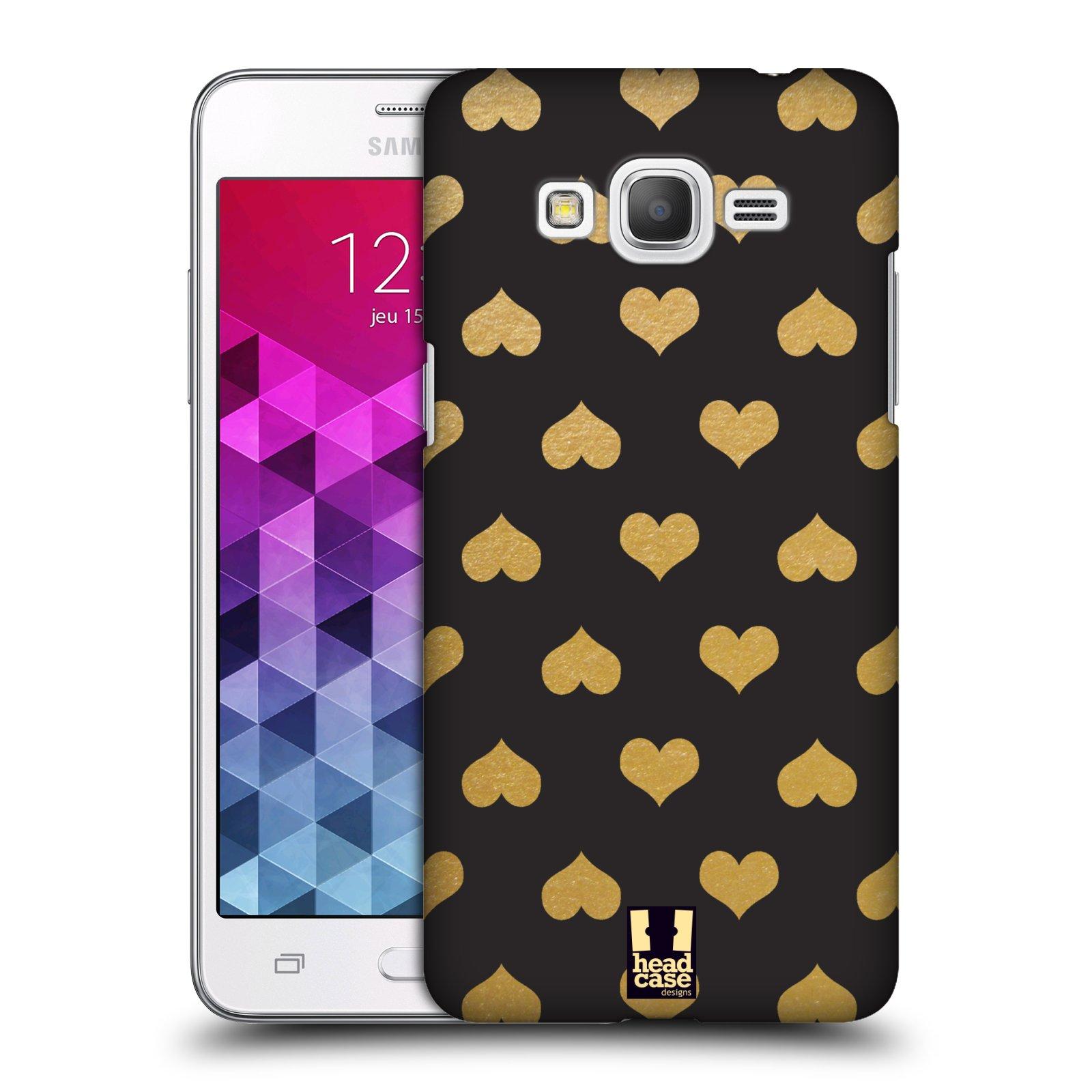 Plastové pouzdro na mobil Samsung Galaxy Grand Prime VE HEAD CASE ZLATÁ SRDÍČKA
