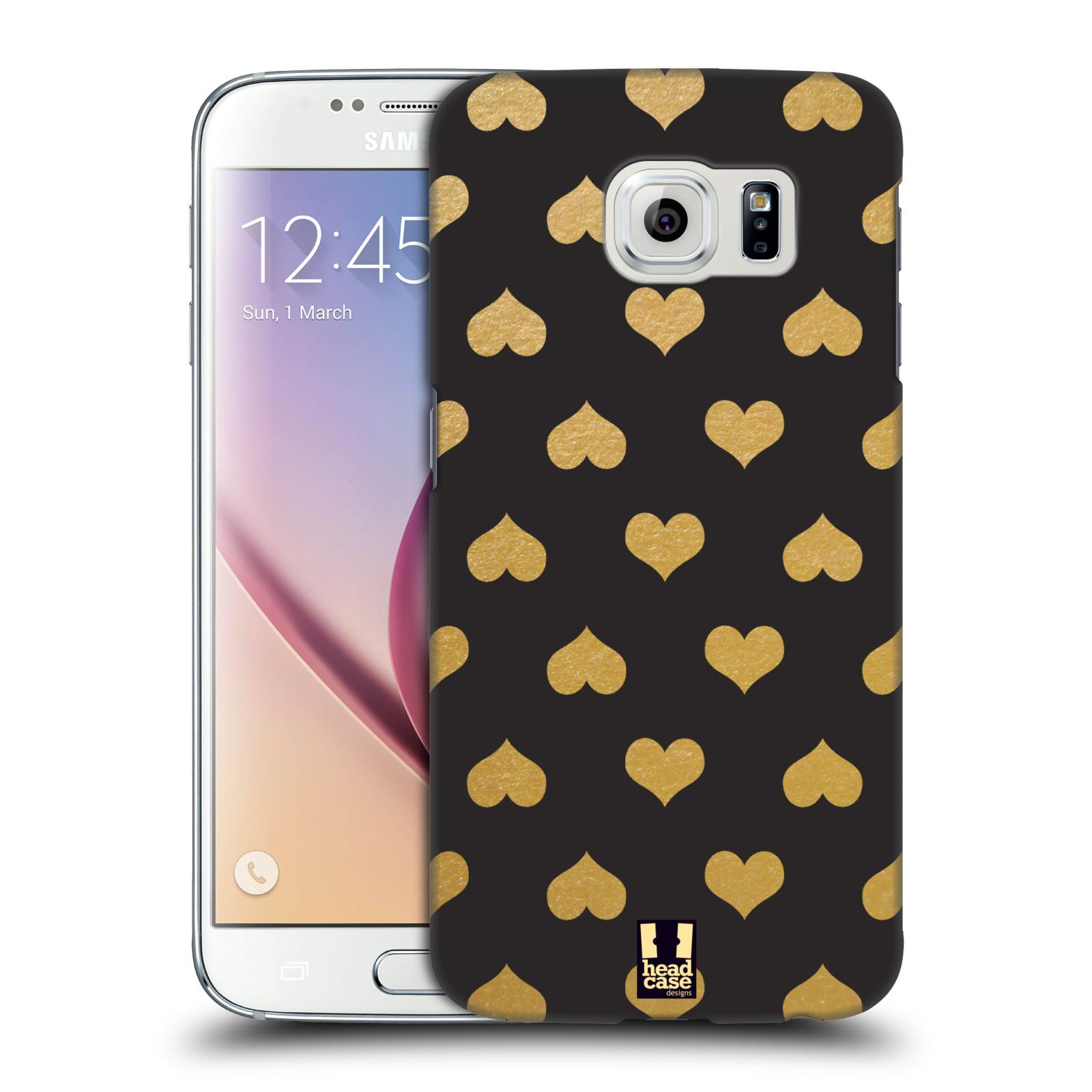 Plastové pouzdro na mobil Samsung Galaxy S6 HEAD CASE ZLATÁ SRDÍČKA