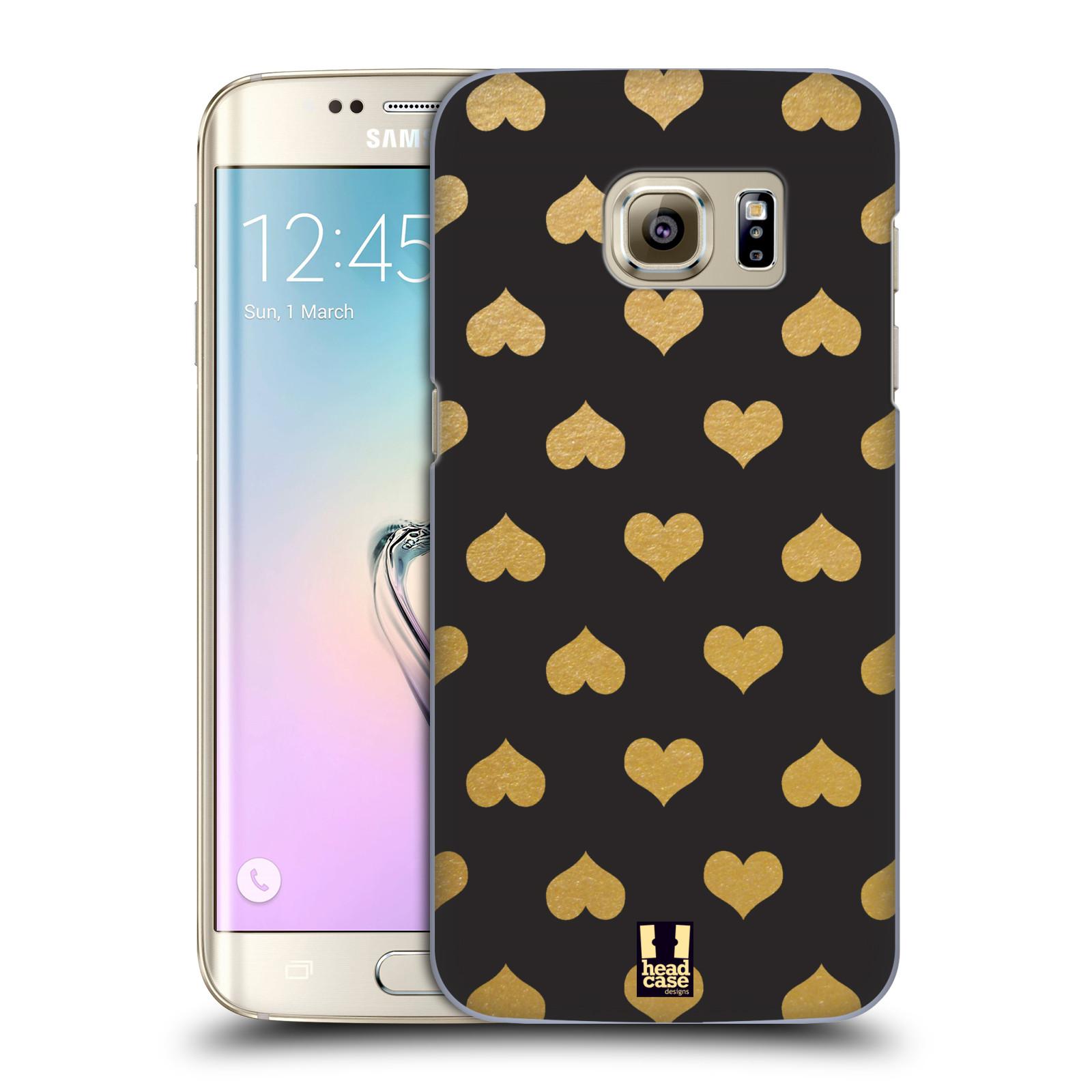 Plastové pouzdro na mobil Samsung Galaxy S7 Edge HEAD CASE ZLATÁ SRDÍČKA (Kryt či obal na mobilní telefon Samsung Galaxy S7 Edge SM-G935F)