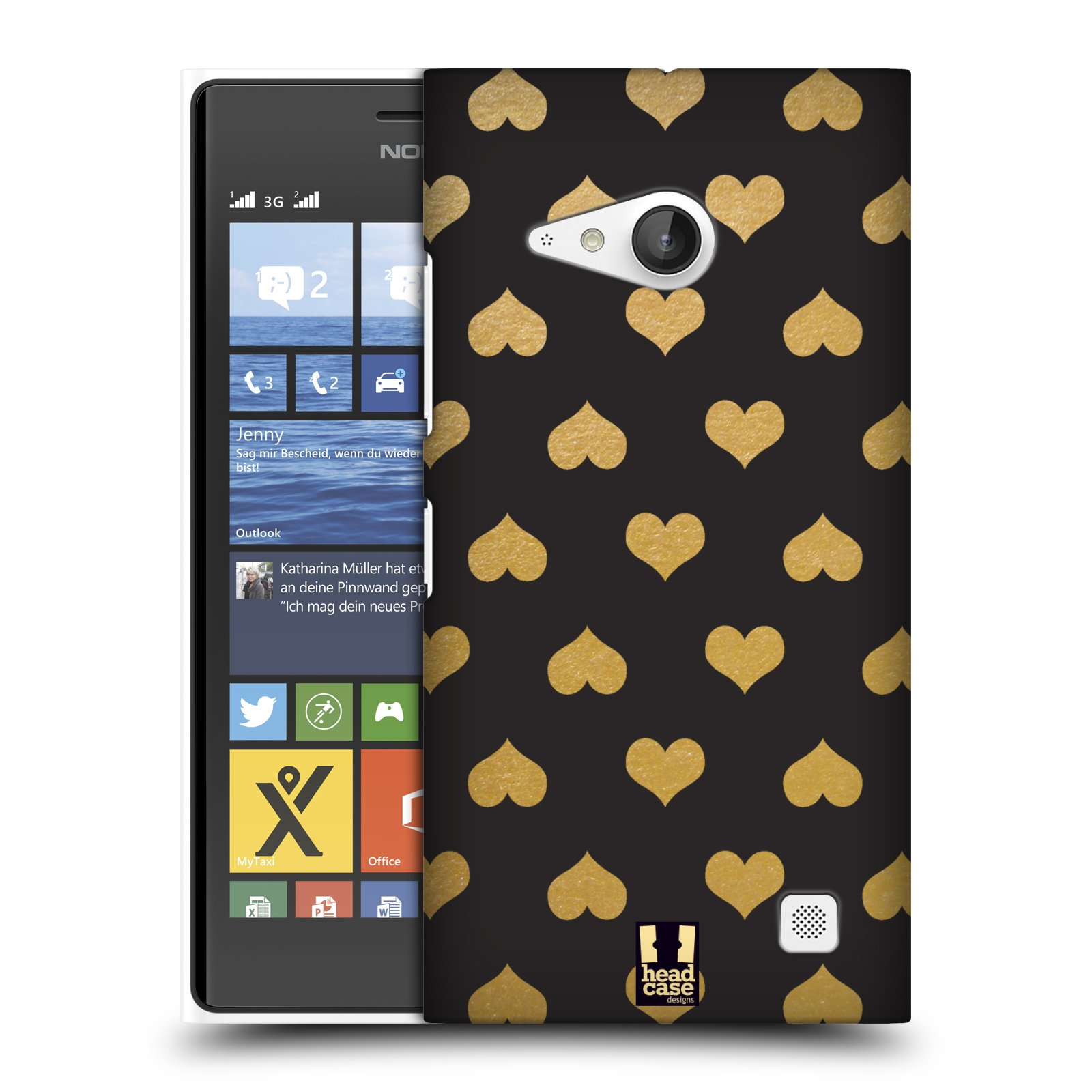 Plastové pouzdro na mobil Nokia Lumia 735 HEAD CASE ZLATÁ SRDÍČKA (Kryt či obal na mobilní telefon Nokia Lumia 735)