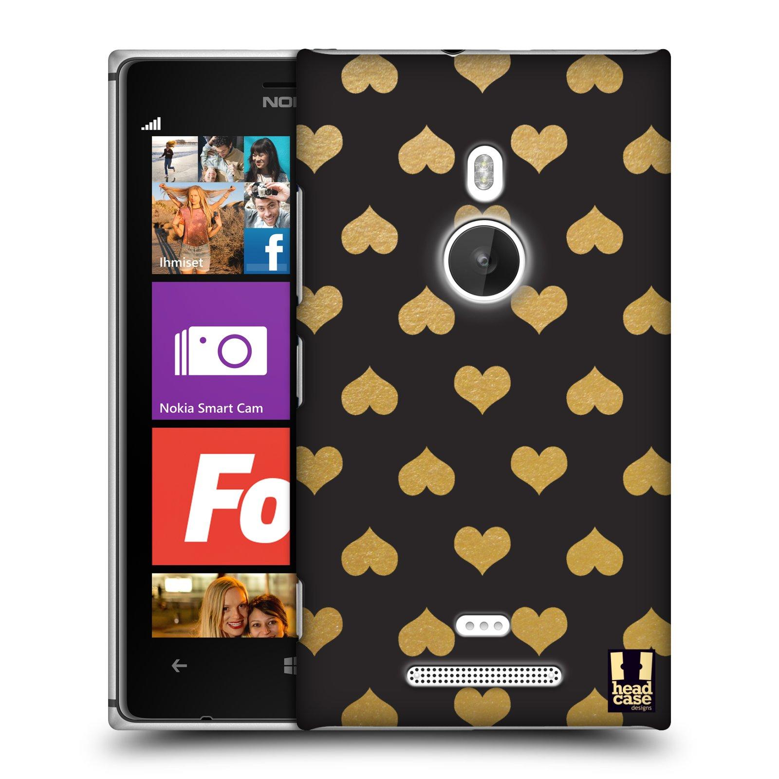 Plastové pouzdro na mobil Nokia Lumia 925 HEAD CASE ZLATÁ SRDÍČKA (Kryt či obal na mobilní telefon Nokia Lumia 925)