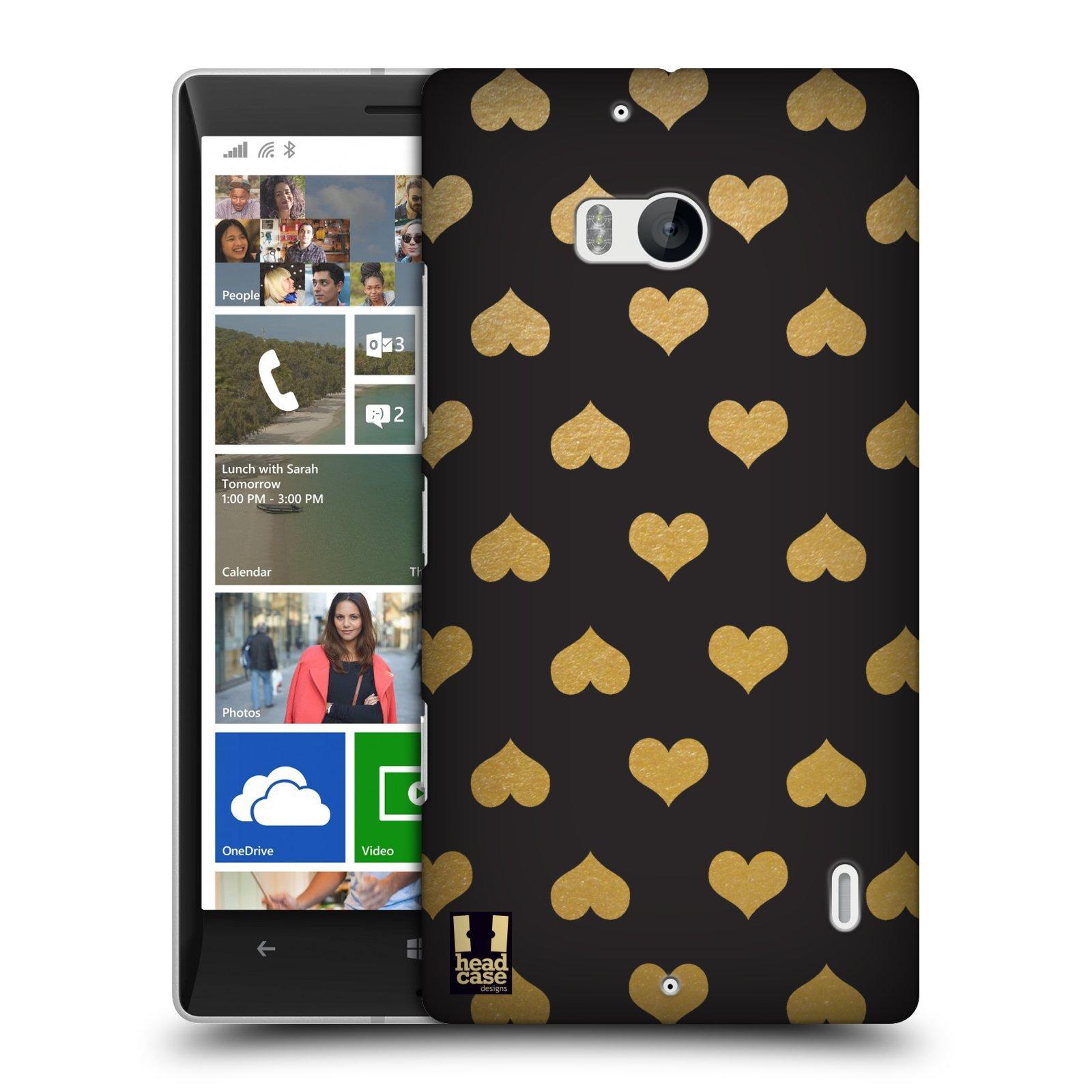Pouzdro na mobil Nokia Lumia 930 HEAD CASE ZLATÁ SRDÍČKA (Kryt či obal na mobilní telefon Nokia Lumia 930)