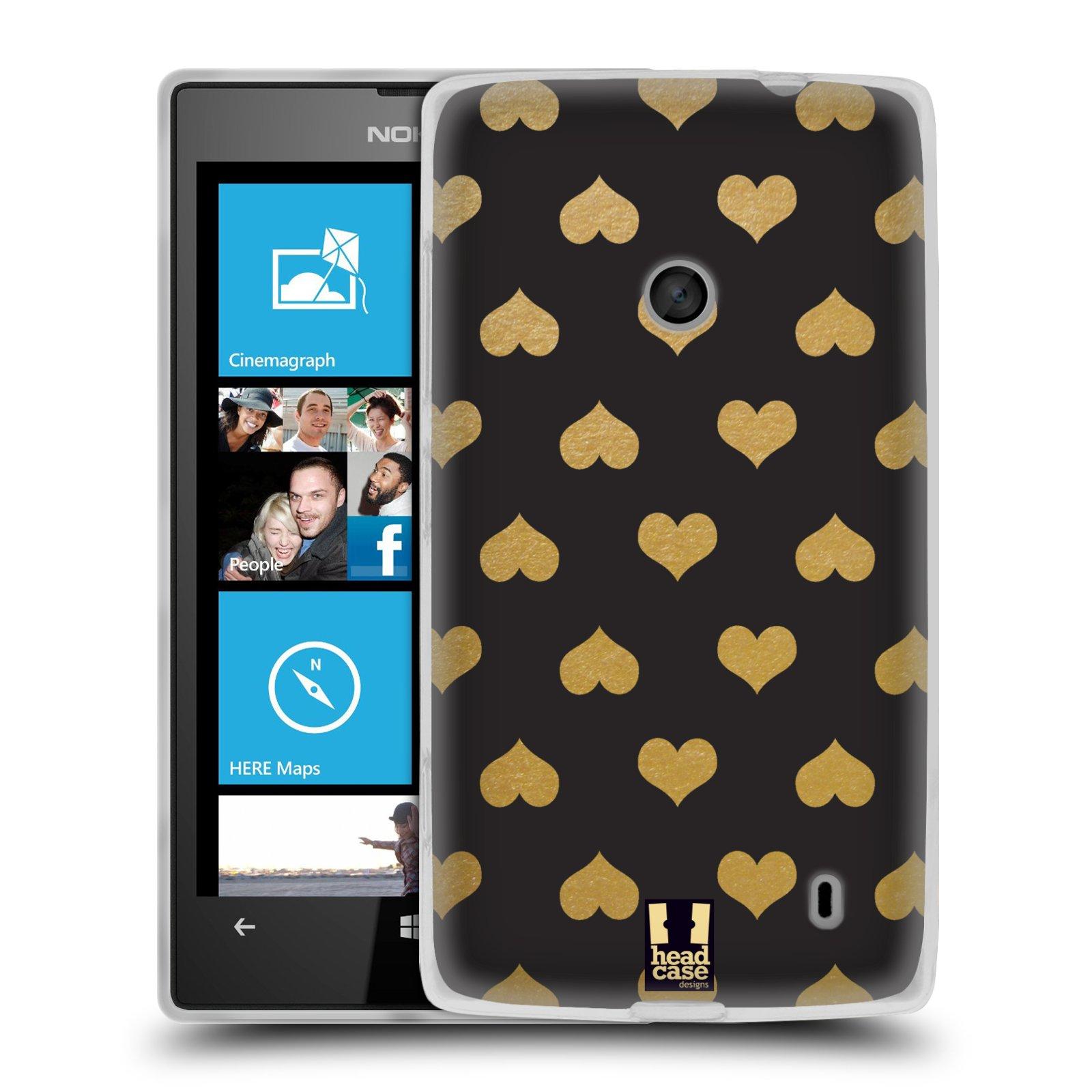 Silikonové pouzdro na mobil Nokia Lumia 520 HEAD CASE ZLATÁ SRDÍČKA (Silikonový Kryt či obal na mobilní telefon Nokia Lumia 520)