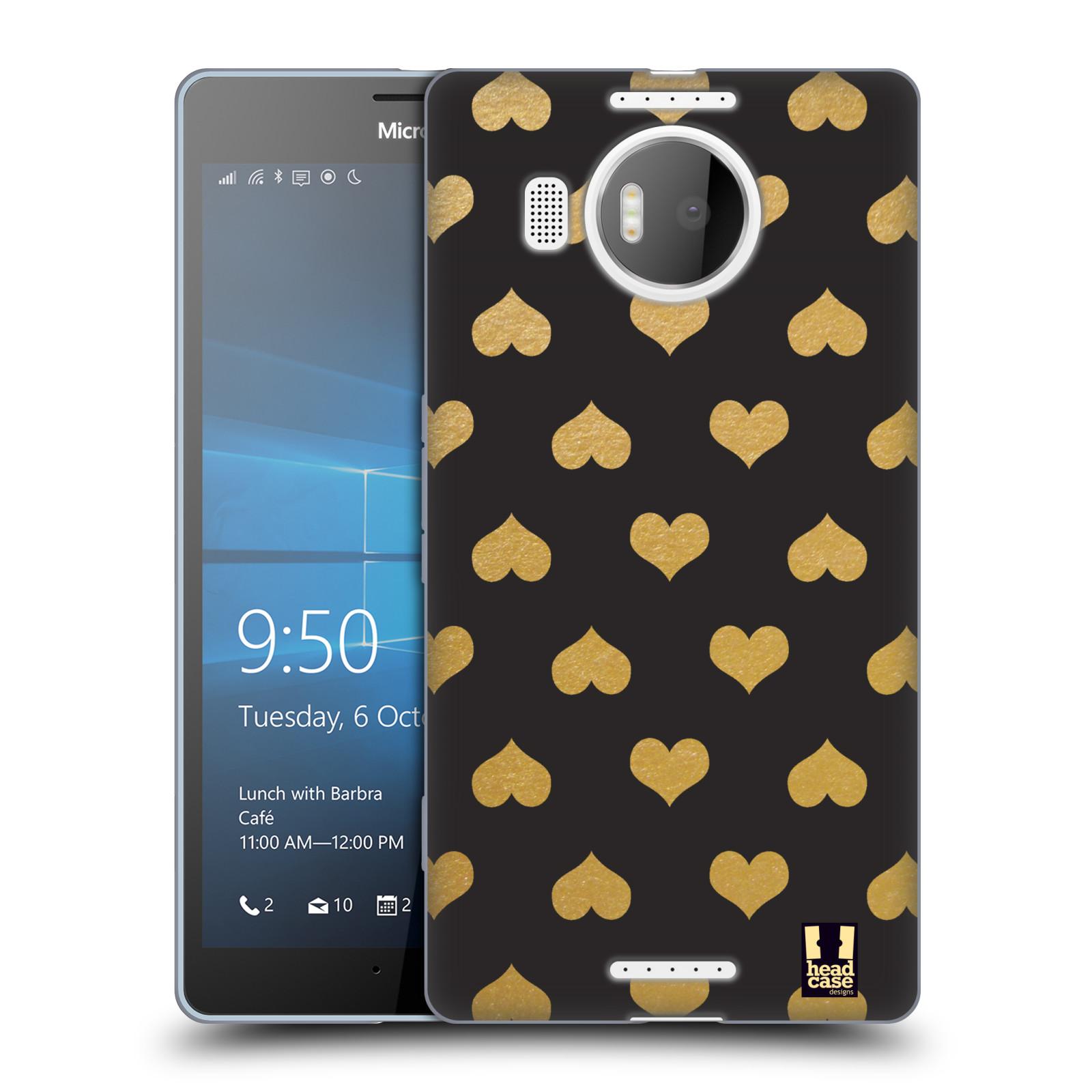 Silikonové pouzdro na mobil Microsoft Lumia 950 XL HEAD CASE ZLATÁ SRDÍČKA