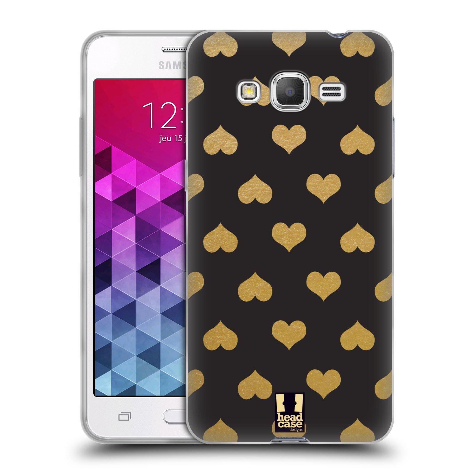 Silikonové pouzdro na mobil Samsung Galaxy Grand Prime VE HEAD CASE ZLATÁ SRDÍČKA