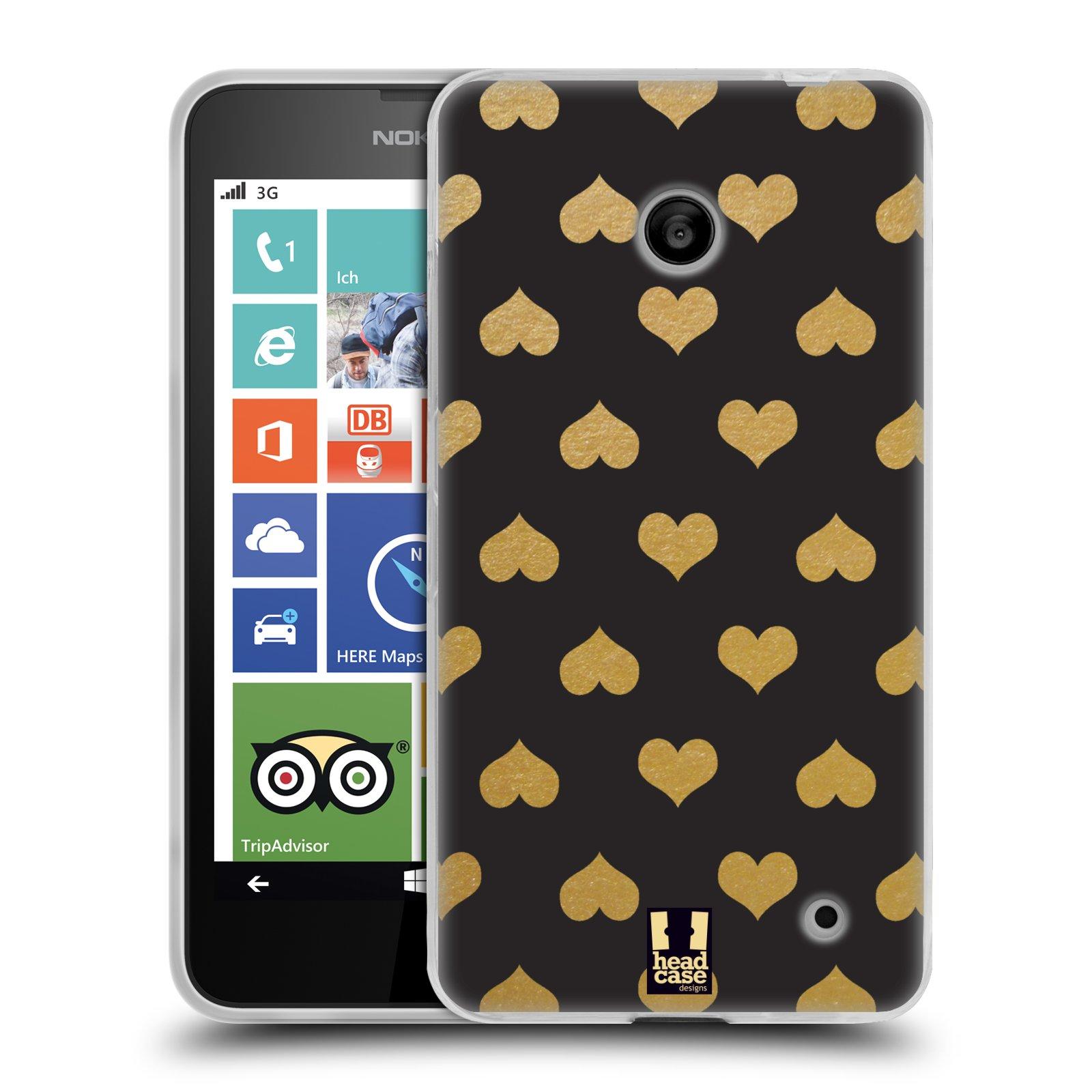 Silikonové pouzdro na mobil Nokia Lumia 630 HEAD CASE ZLATÁ SRDÍČKA (Silikonový kryt či obal na mobilní telefon Nokia Lumia 630 a Nokia Lumia 630 Dual SIM)