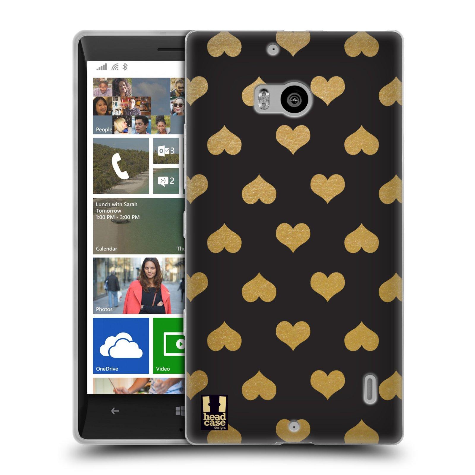 Silikonové pouzdro na mobil Nokia Lumia 930 HEAD CASE ZLATÁ SRDÍČKA (Silikonový kryt či obal na mobilní telefon Nokia Lumia 930)