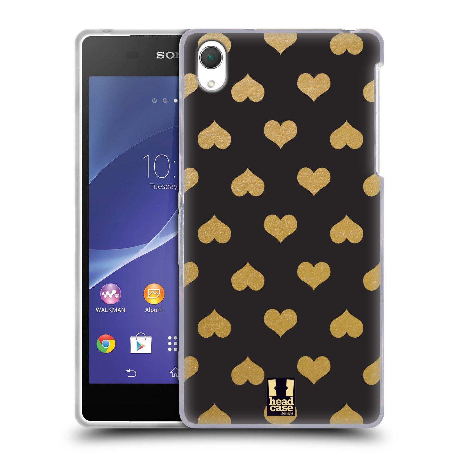 Silikonové pouzdro na mobil Sony Xperia Z2 D6503 HEAD CASE ZLATÁ SRDÍČKA