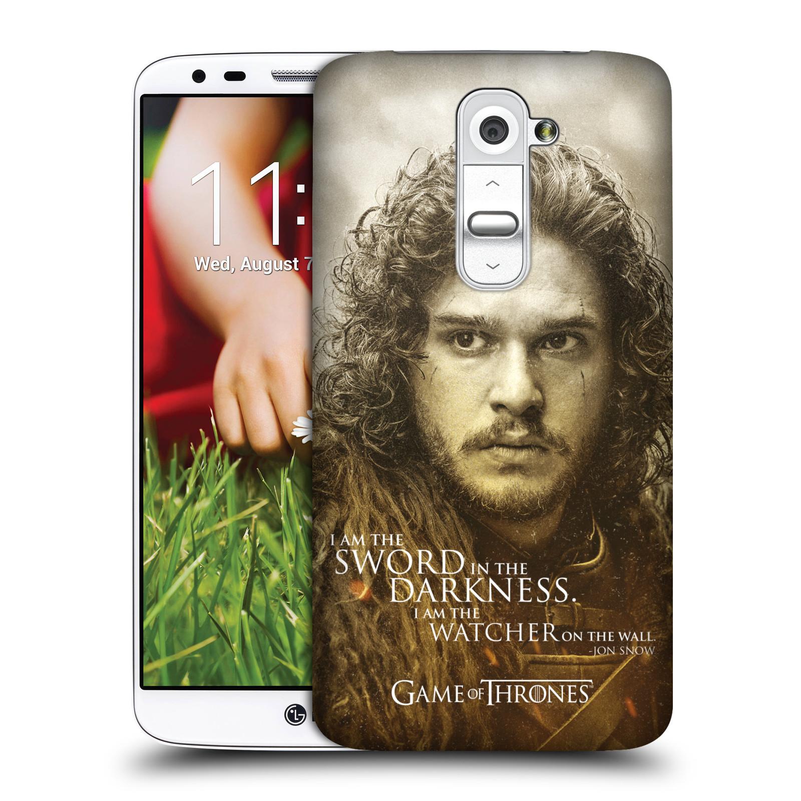 Plastové pouzdro na mobil LG G2 HEAD CASE Hra o trůny - Jon Snow (Plastový kryt či obal na mobilní telefon s licencovaným motivem Hra o trůny - Game Of Thrones pro LG G2)