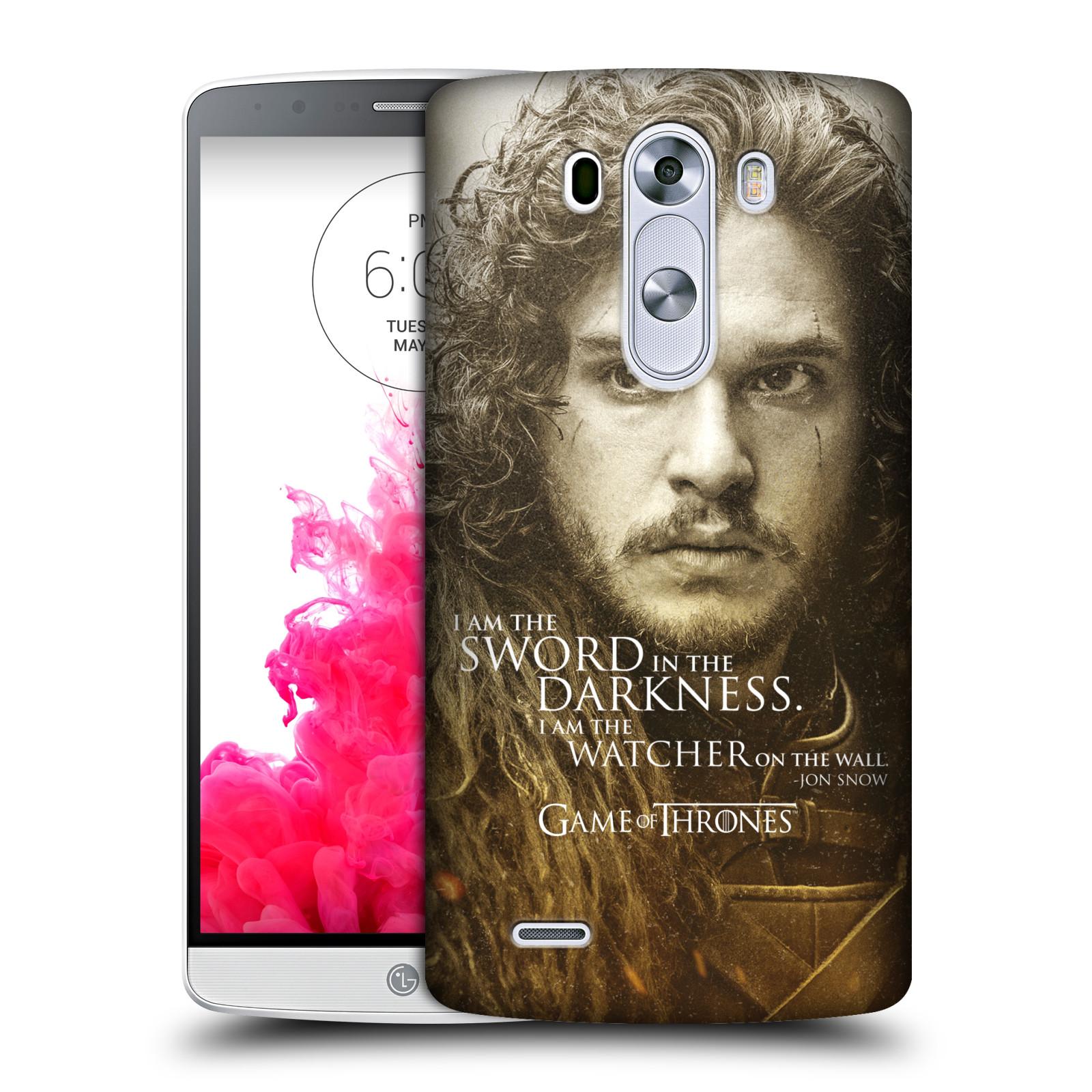 Plastové pouzdro na mobil LG G3 HEAD CASE Hra o trůny - Jon Snow (Plastový kryt či obal na mobilní telefon s licencovaným motivem Hra o trůny - Game Of Thrones pro LG G3)