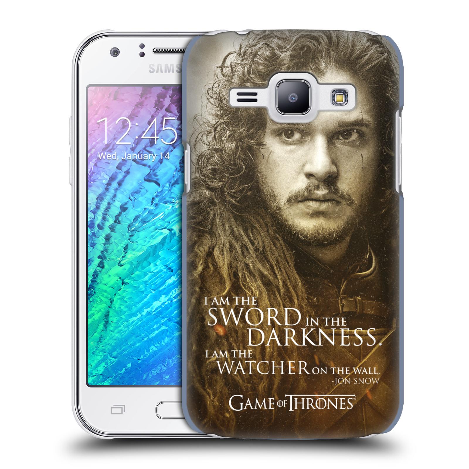 Plastové pouzdro na mobil Samsung Galaxy J1 HEAD CASE Hra o trůny - Jon Snow (Plastový kryt či obal na mobilní telefon s licencovaným motivem Hra o trůny - Game Of Thrones pro Samsung Galaxy J1 a J1 Duos )