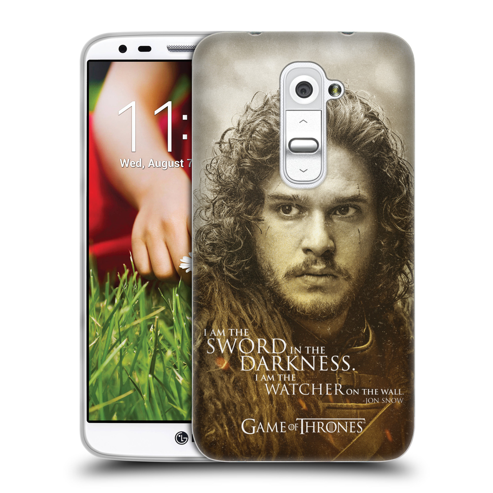 Silikonové pouzdro na mobil HTC LG G2 HEAD CASE Hra o trůny - Jon Snow (Silikonový kryt či obal na mobilní telefon s licencovaným motivem Hra o trůny - Game Of Thrones pro HTC LG G2)