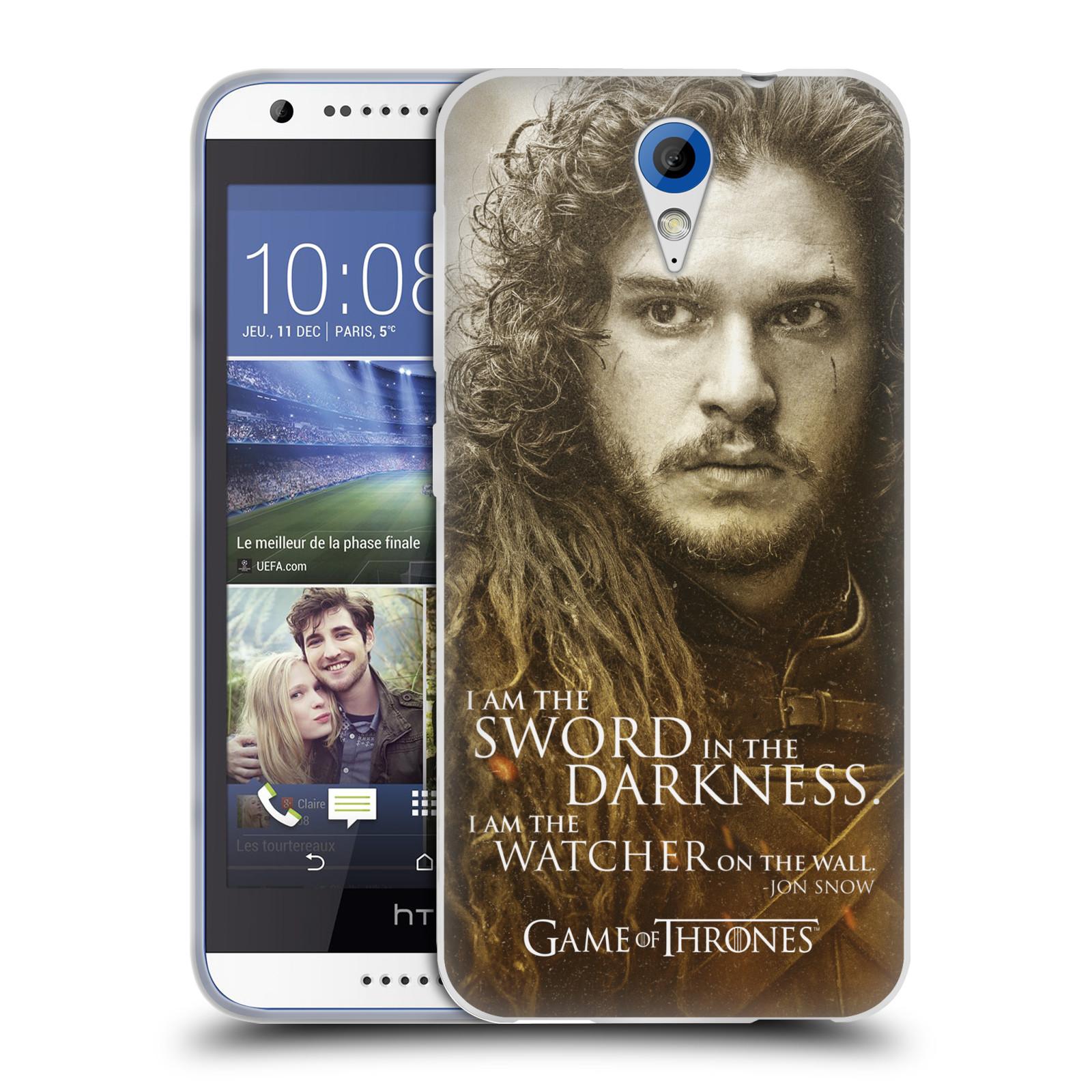 Silikonové pouzdro na mobil HTC Desire 620 HEAD CASE Hra o trůny - Jon Snow (Silikonový kryt či obal na mobilní telefon s licencovaným motivem Hra o trůny - Game Of Thrones pro HTC Desire 620)