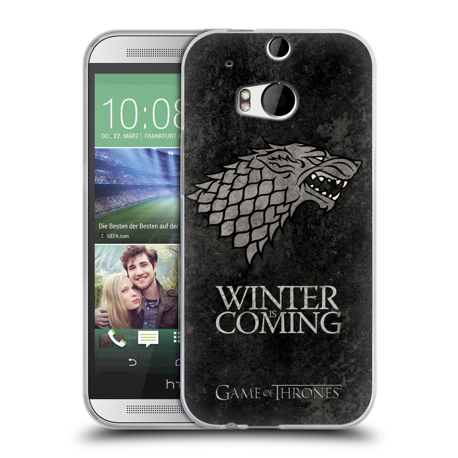 Silikonové pouzdro na mobil HTC ONE M8 HEAD CASE Hra o trůny - Stark - Winter is coming