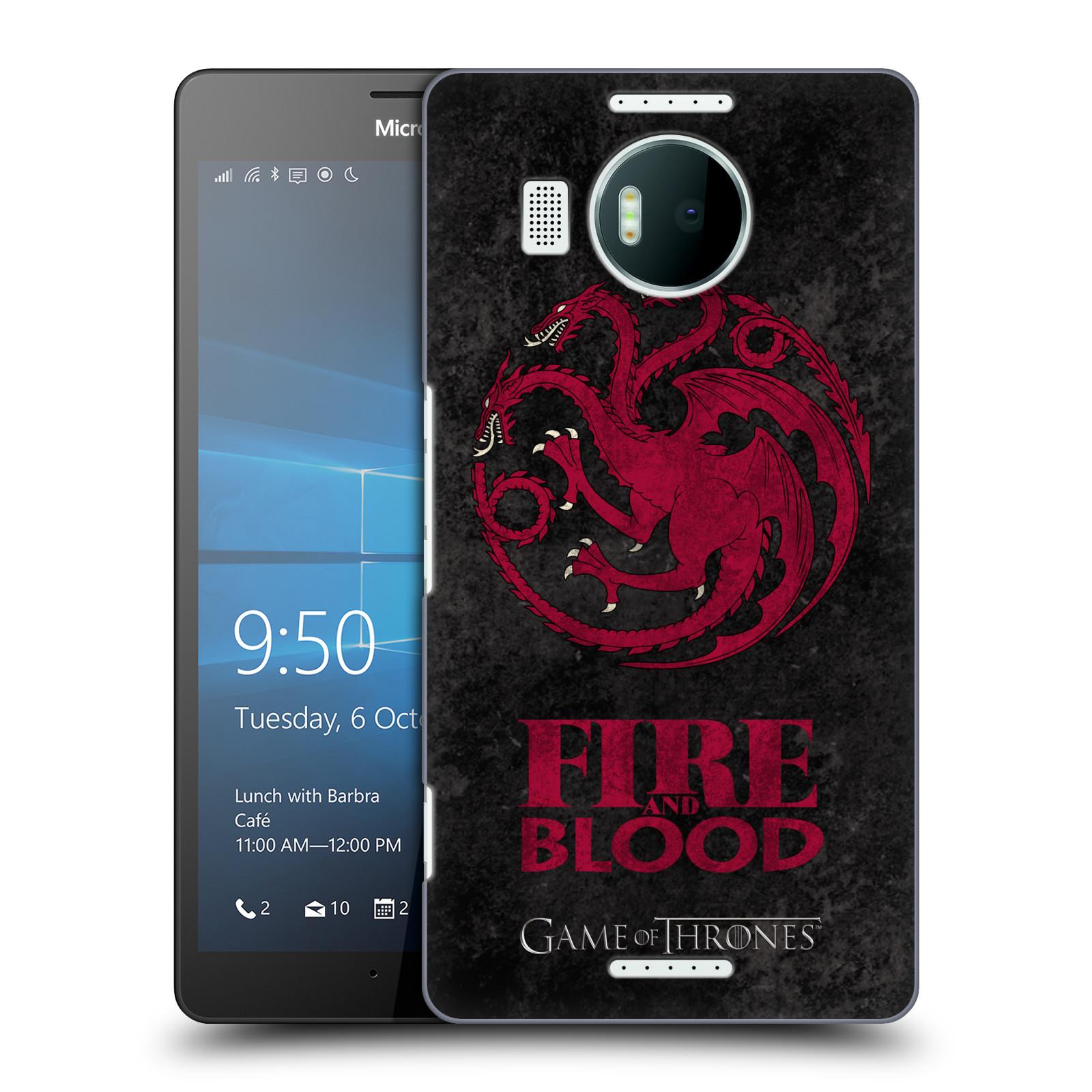 Plastové pouzdro na mobil Microsoft Lumia 950 XL HEAD CASE Hra o trůny - Sigils Targaryen - Fire and Blood (Plastový kryt či obal na mobilní telefon s licencovaným motivem Hra o trůny - Game Of Thrones pro Microsoft Lumia 950 XL)