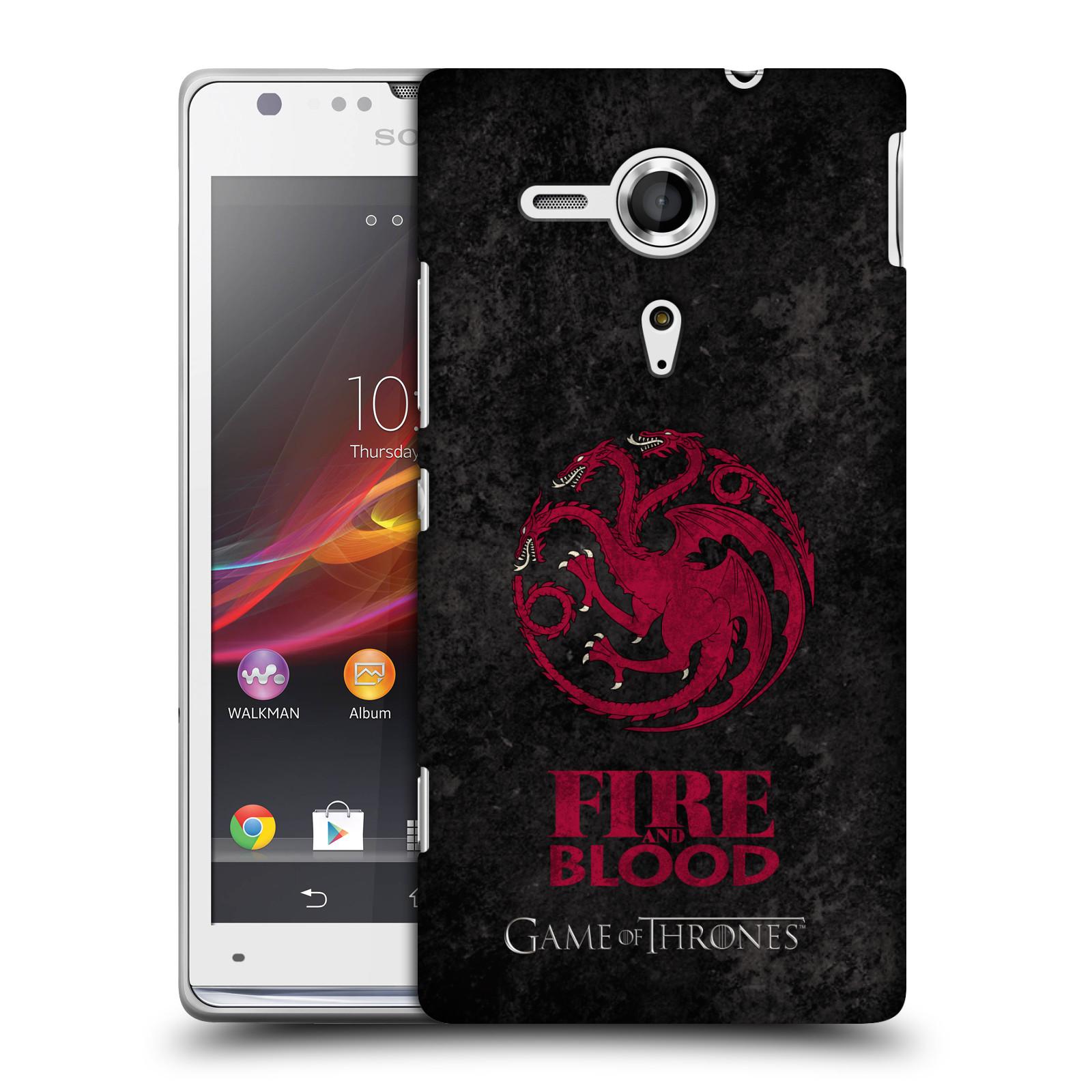Plastové pouzdro na mobil Sony Xperia SP C5303 HEAD CASE Hra o trůny - Sigils Targaryen - Fire and Blood (Plastový kryt či obal na mobilní telefon s licencovaným motivem Hra o trůny - Game Of Thrones pro Sony Xperia SP)