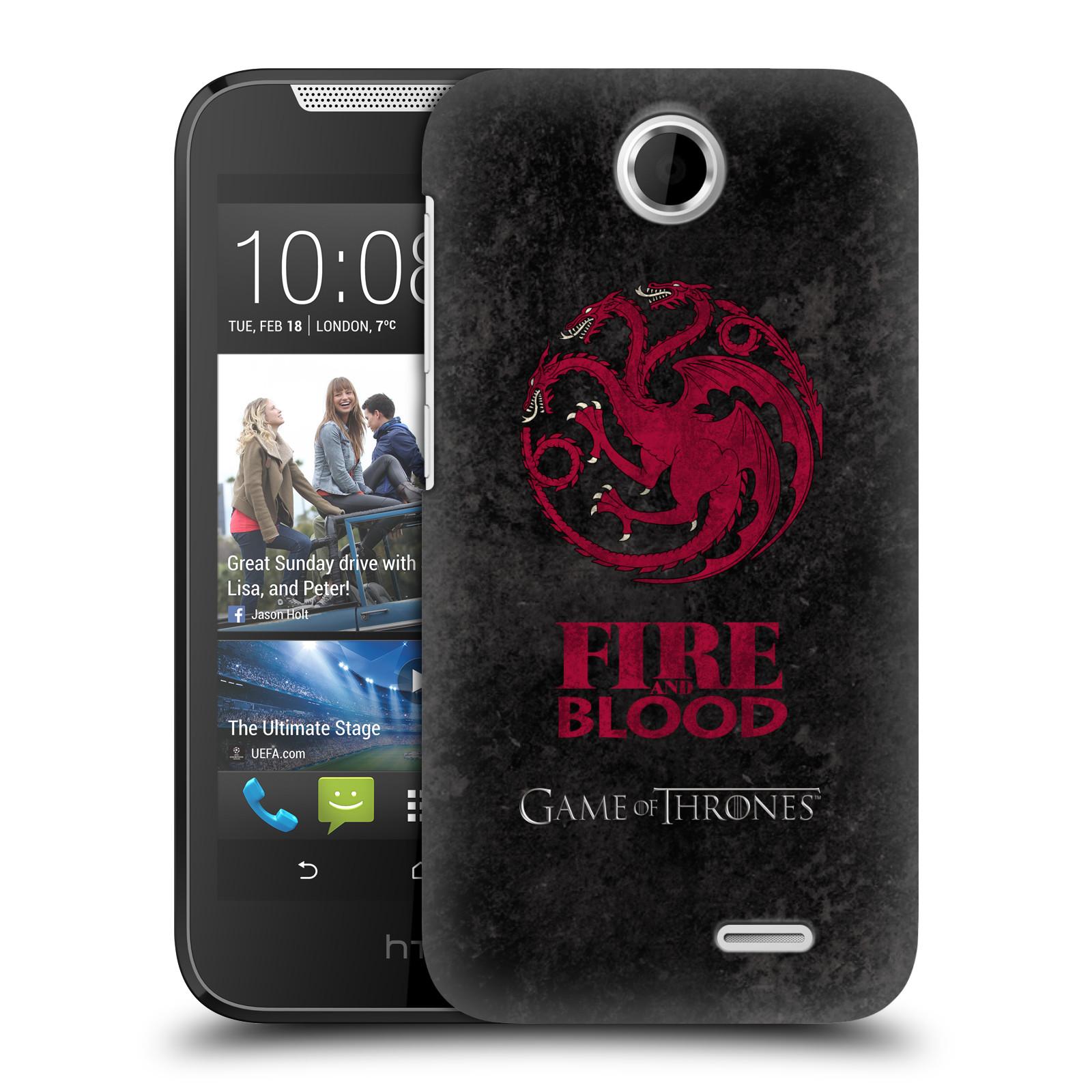Plastové pouzdro na mobil HTC Desire 310 HEAD CASE Hra o trůny - Sigils Targaryen - Fire and Blood (Plastový kryt či obal na mobilní telefon s licencovaným motivem Hra o trůny - Game Of Thrones pro HTC Desire 310)