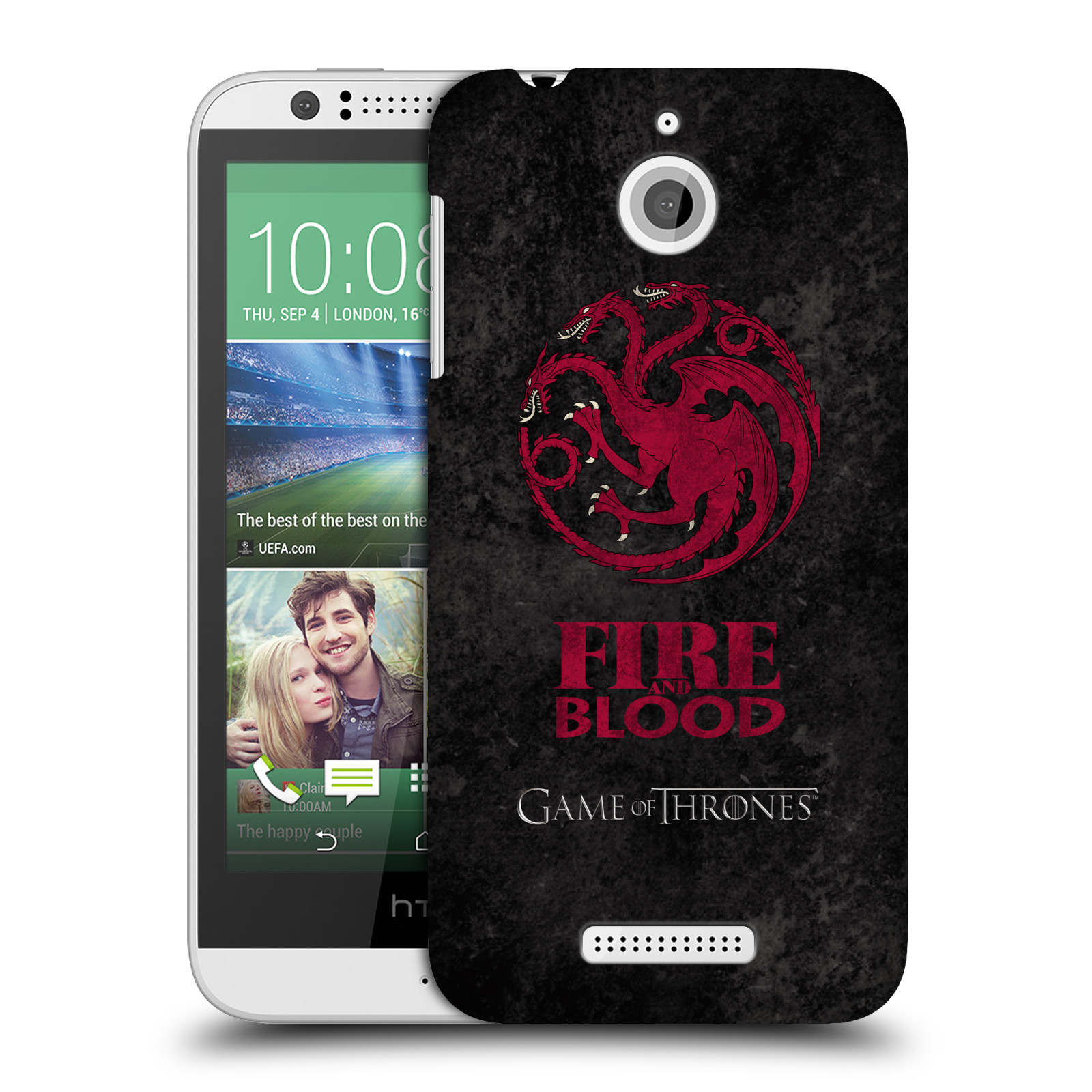 Plastové pouzdro na mobil HTC Desire 510 HEAD CASE Hra o trůny - Sigils Targaryen - Fire and Blood (Plastový kryt či obal na mobilní telefon s licencovaným motivem Hra o trůny - Game Of Thrones pro HTC Desire 510)