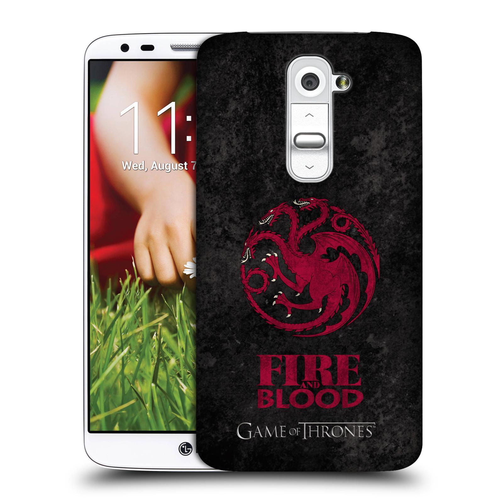 Plastové pouzdro na mobil LG G2 HEAD CASE Hra o trůny - Sigils Targaryen - Fire and Blood (Plastový kryt či obal na mobilní telefon s licencovaným motivem Hra o trůny - Game Of Thrones pro LG G2)